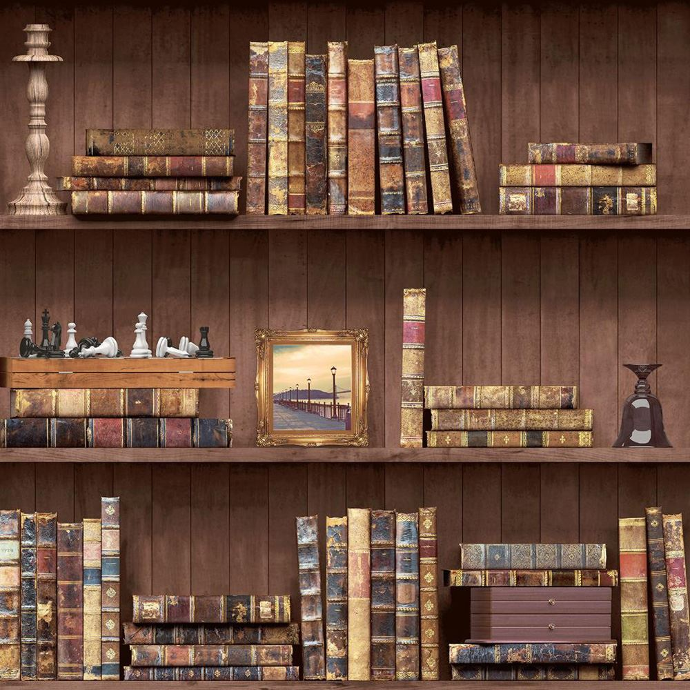 BOOKCASE PATTERN WALLPAPER WHITE, NATURAL FEATURE WALL VARIOUS ...