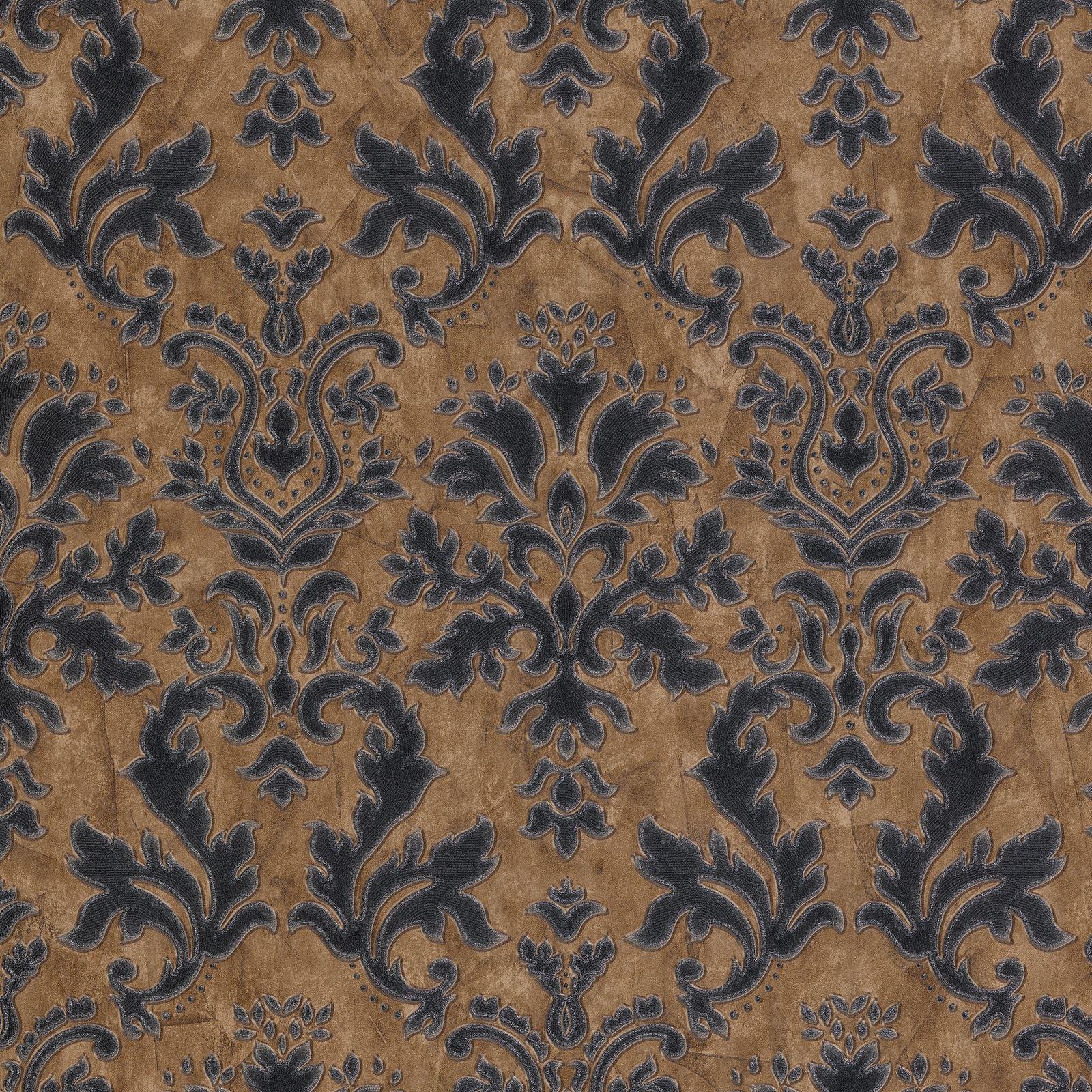 strukturiertes vinyl damast tapete braun schwarz silber p s 02485 40 ebay. Black Bedroom Furniture Sets. Home Design Ideas