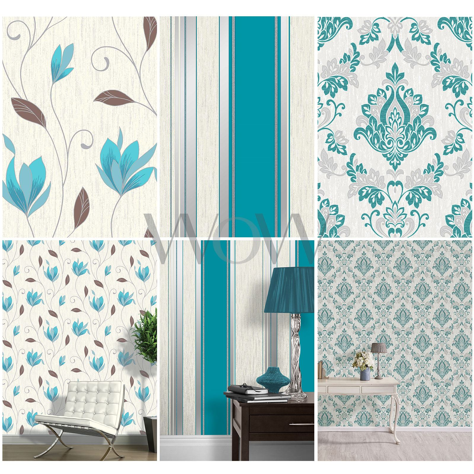 Vymura Synergy Teal Blue White Silver Glitter Wallpaper