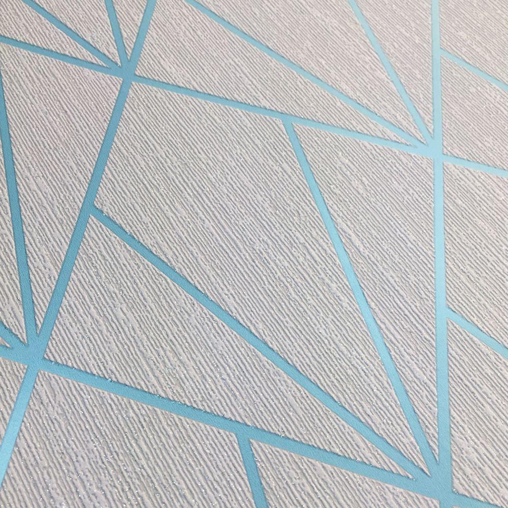 Muriva Indra géométrique ligne Triangle Cyan//Bleu Texturé Vinyle Métallique Papier Peint