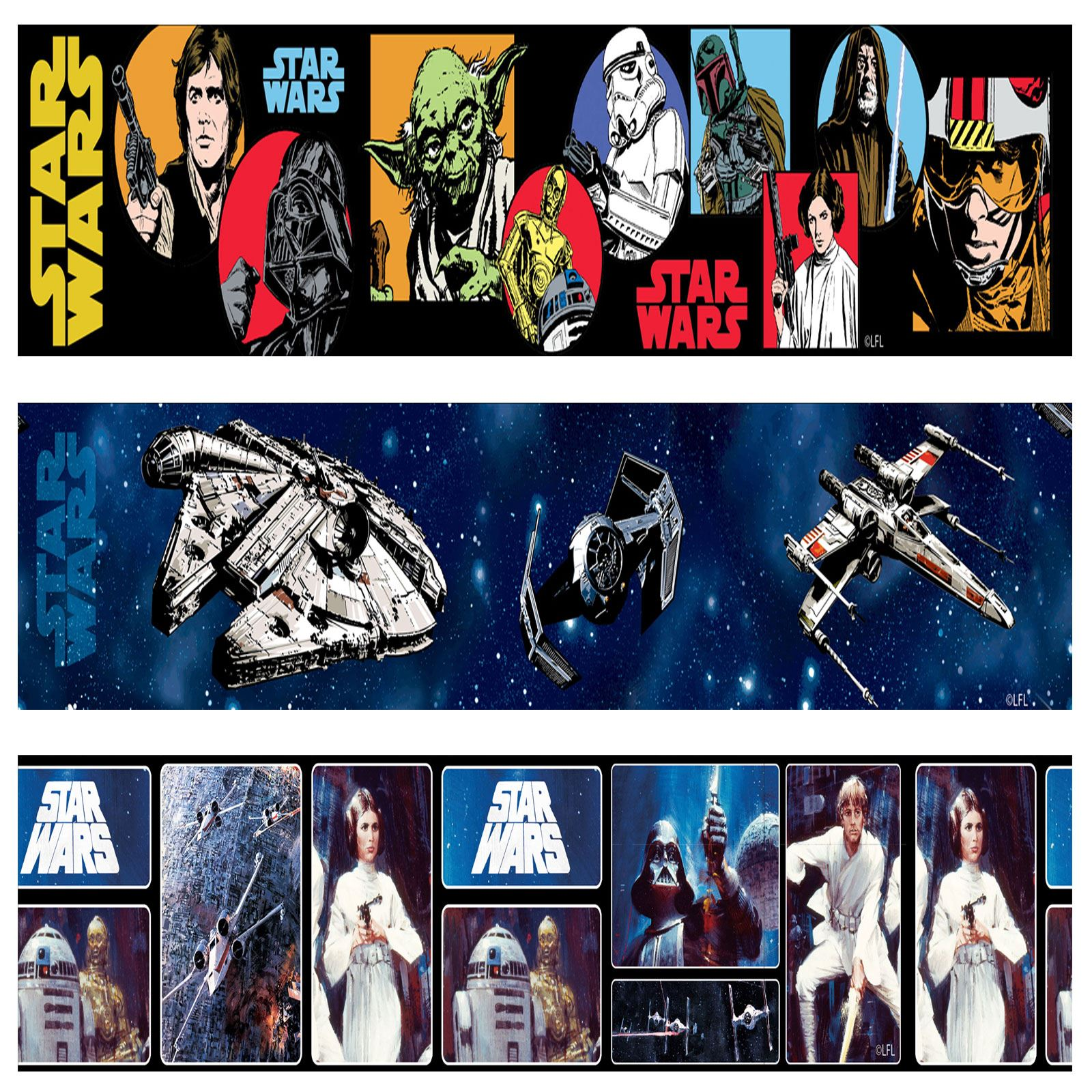 Star Wars Wallpaper Borders 5m Various Styles Designs New Kids