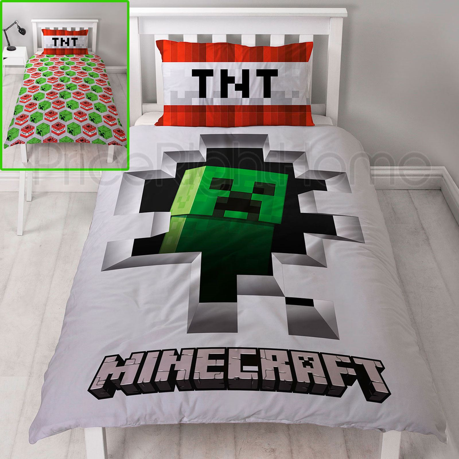 Official Minecraft Creeper Dynamite Single Duvet Cover Set