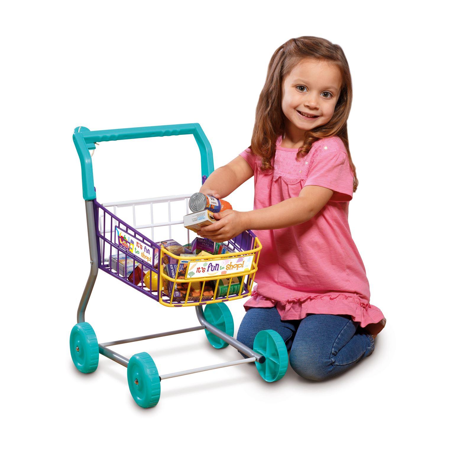 Casdon SHOPPING TROLLEY Little Shopper Role Play Pretend Food Kids Toy BN