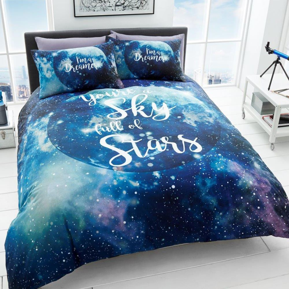 dreamer galaxy space stars duvet cover set blue bedding double king size - Space Bedding