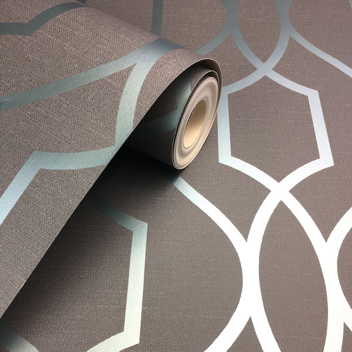 Apex Trellis Sidewall Wallpaper Copper: FINE DECOR APEX GEOMETRIC TRELLIS WALLPAPER STONE GREY