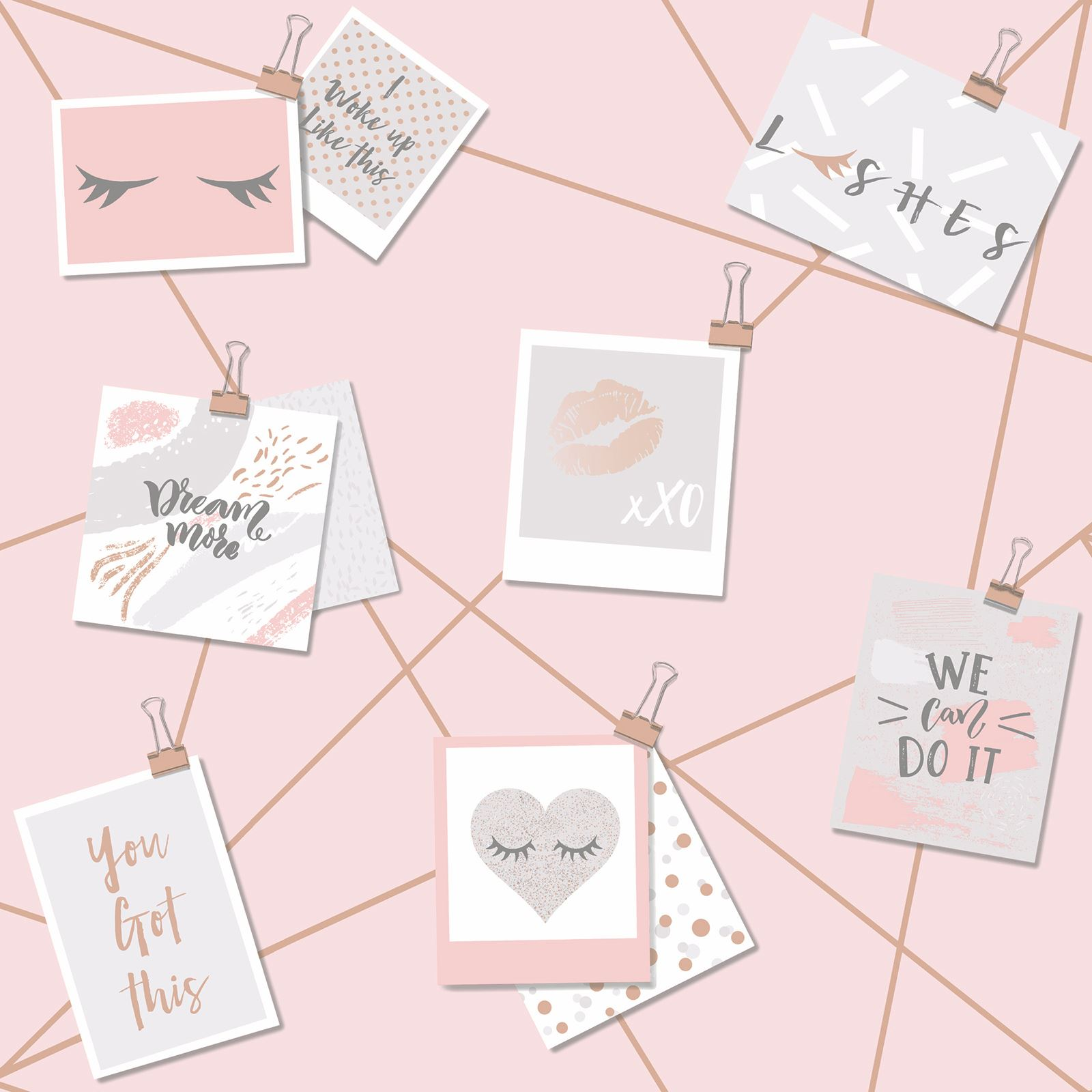 Girls Rose Gold Wallpaper: DREAM LASHES WALLPAPER PINK / ROSE GOLD