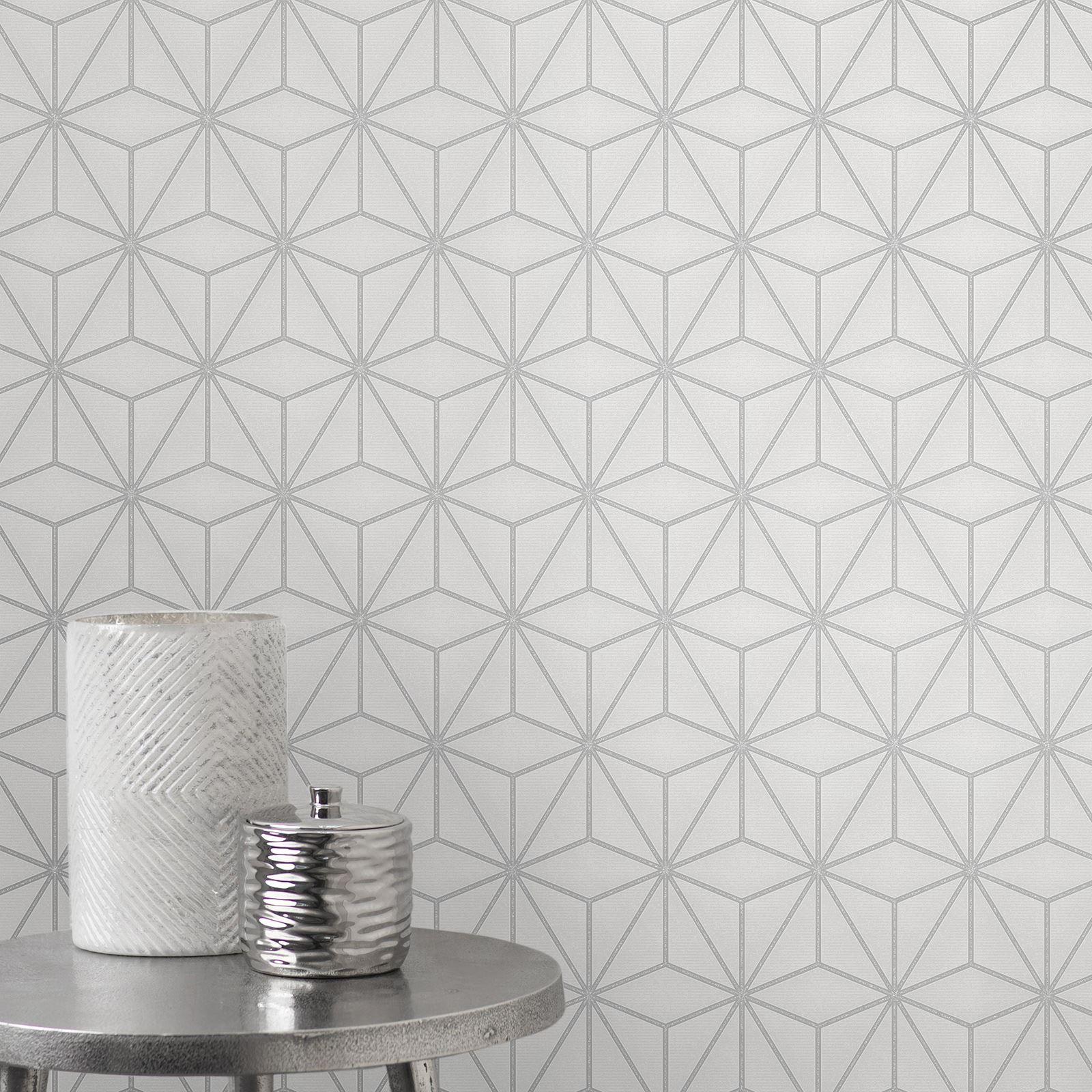 Pulse Star Geo Wallpaper Silver Grey Fine Decor