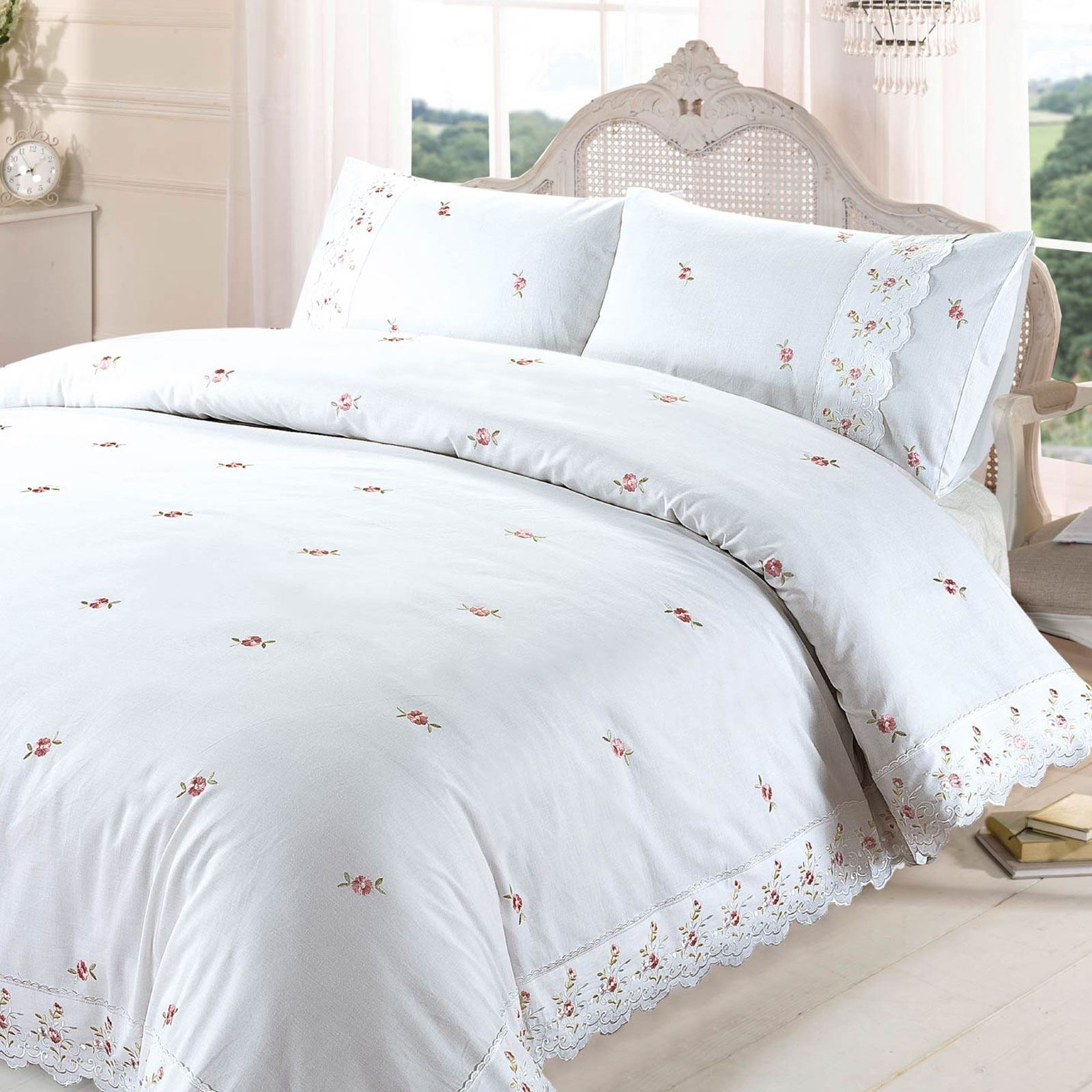 Sophie Floral White Double Duvet Cover Set Embroidered Flowers