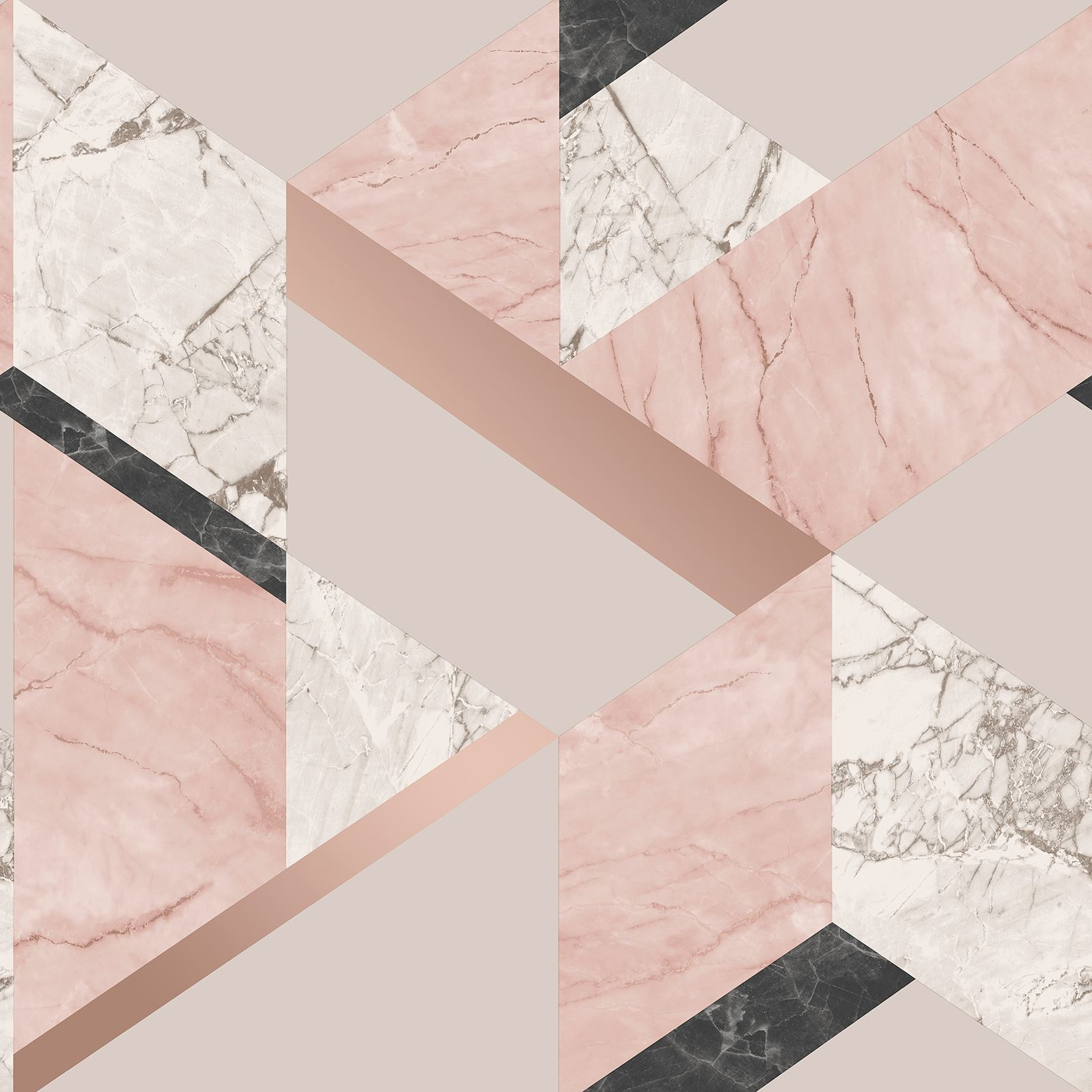 MARBLESQUE GEOMETRIC MARBLE WALLPAPER PINK ROSE GOLD FINE DECOR FD42303 METALLIC