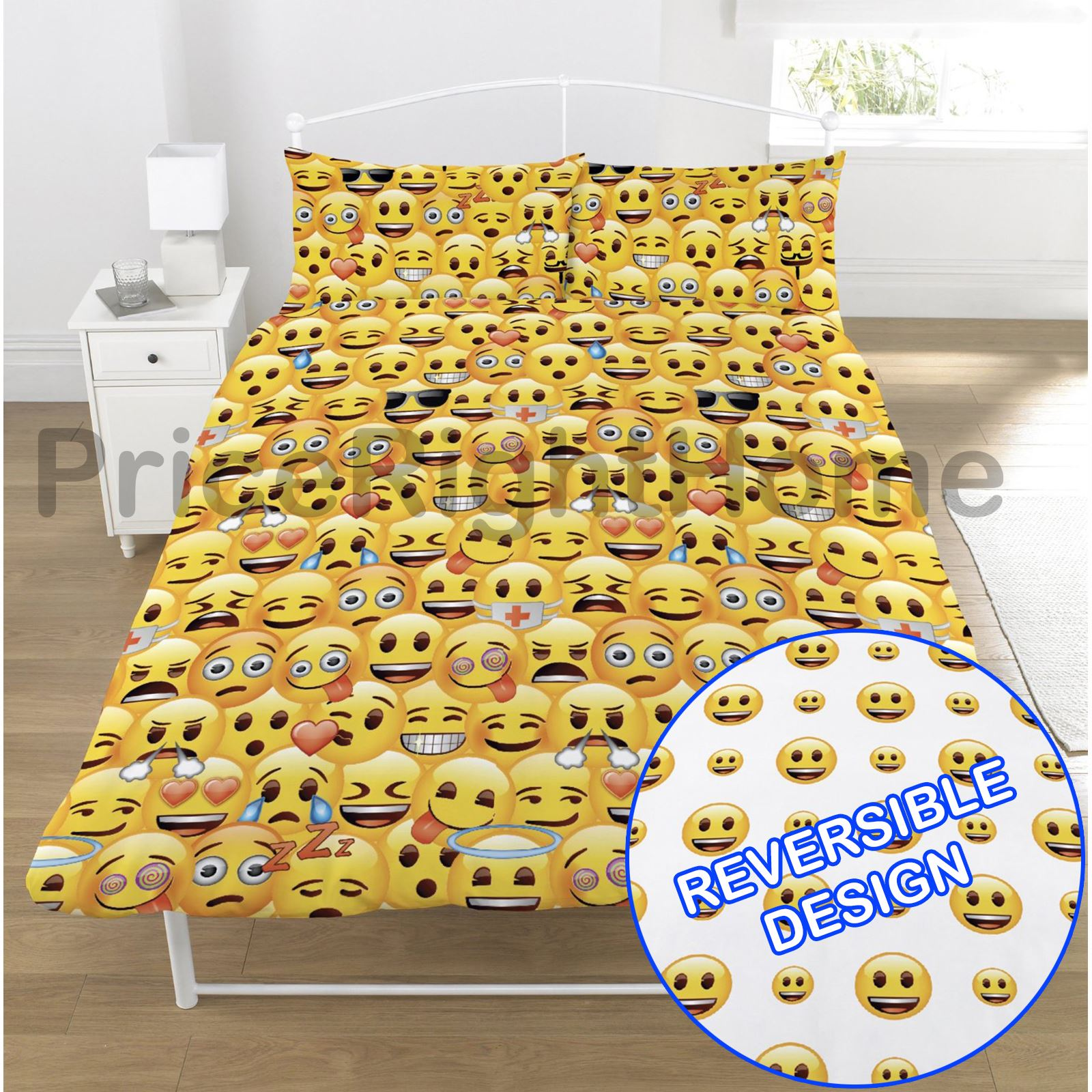 Emoji duvet cover sets single double funny smiley for Housse couette 200x200