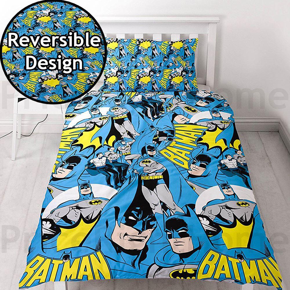 dc comics batman superman bettbezug set bettw sche kinder jungen ebay. Black Bedroom Furniture Sets. Home Design Ideas