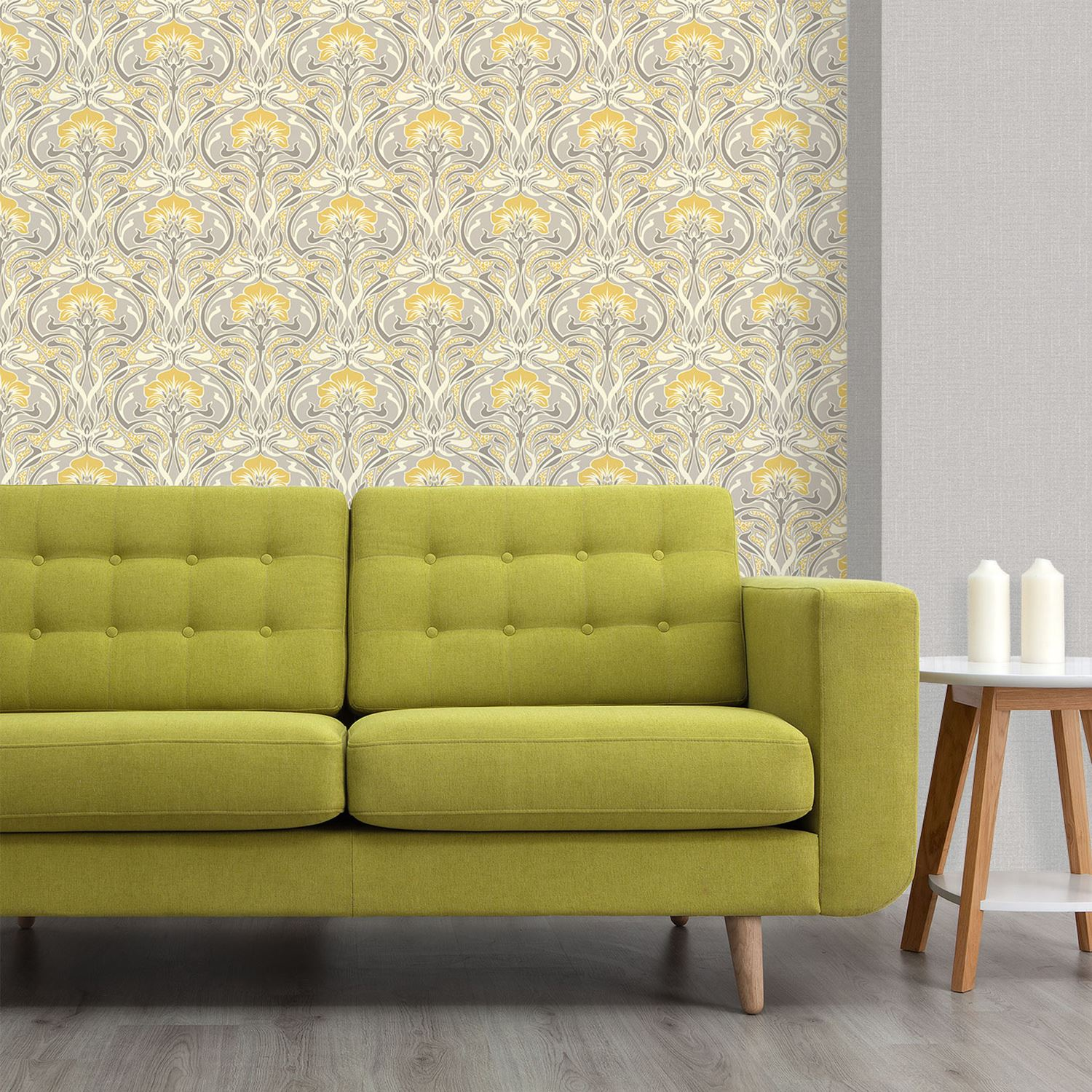 CROWN ARCHIVES FLORA NOUVEAU WALLPAPER GREEN, YELLOW & NATURAL WALL ...