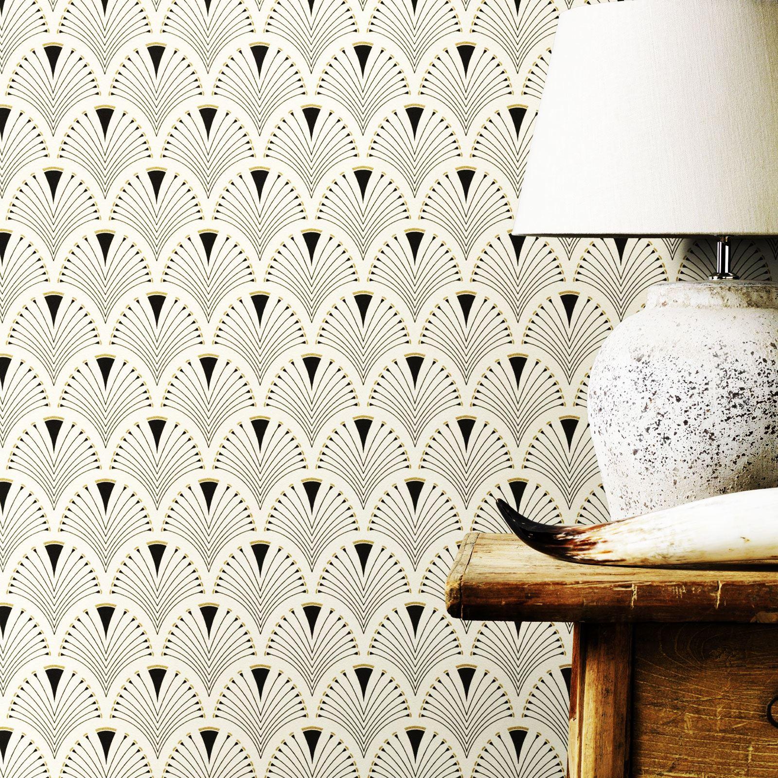 Modern Art Deco Fan Wallpaper Black Gold Rasch 433210