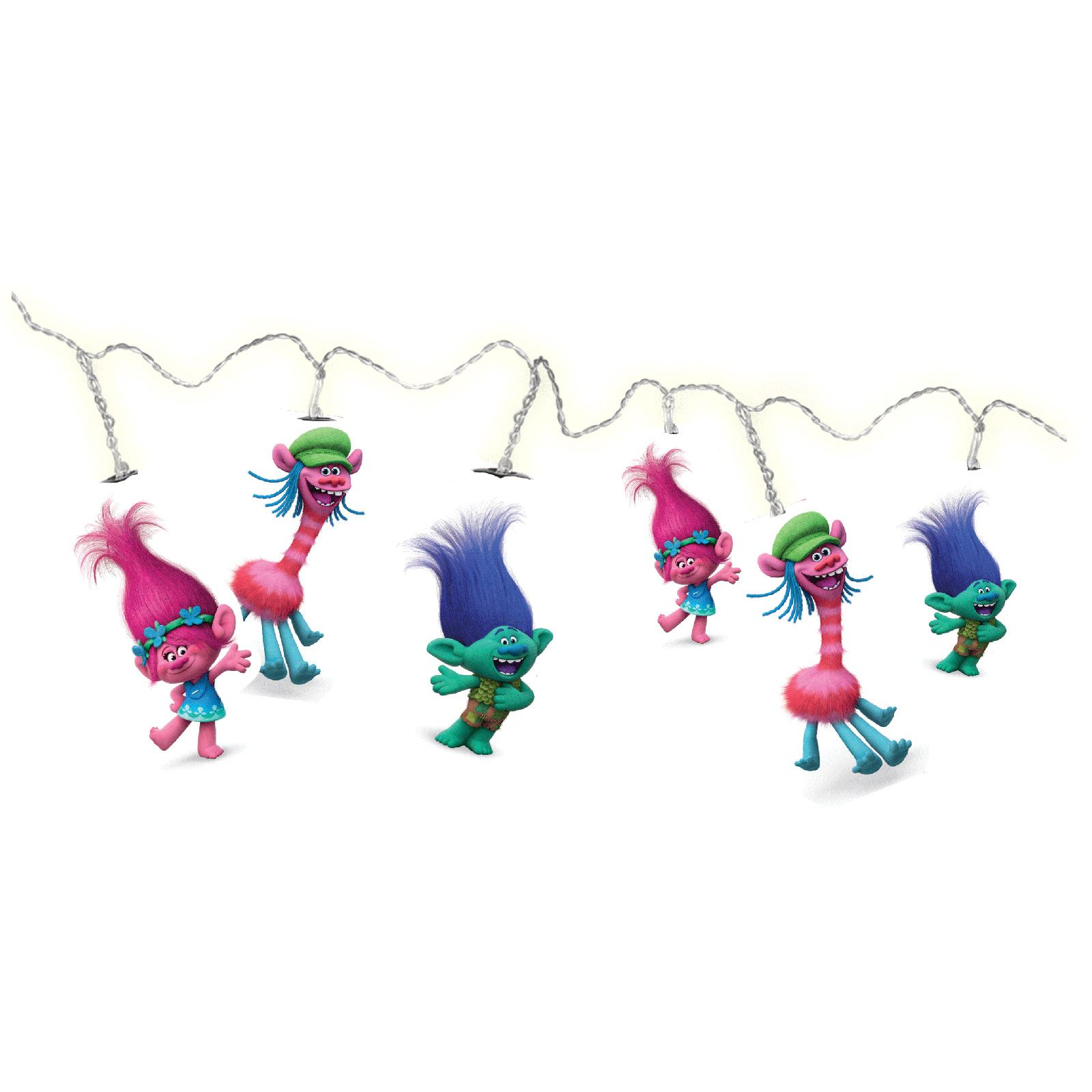 OFFICIAL TROLLS LED 15 STRING LIGHTS 2.8m LONG CABLE POPPY BRANCH COOPER