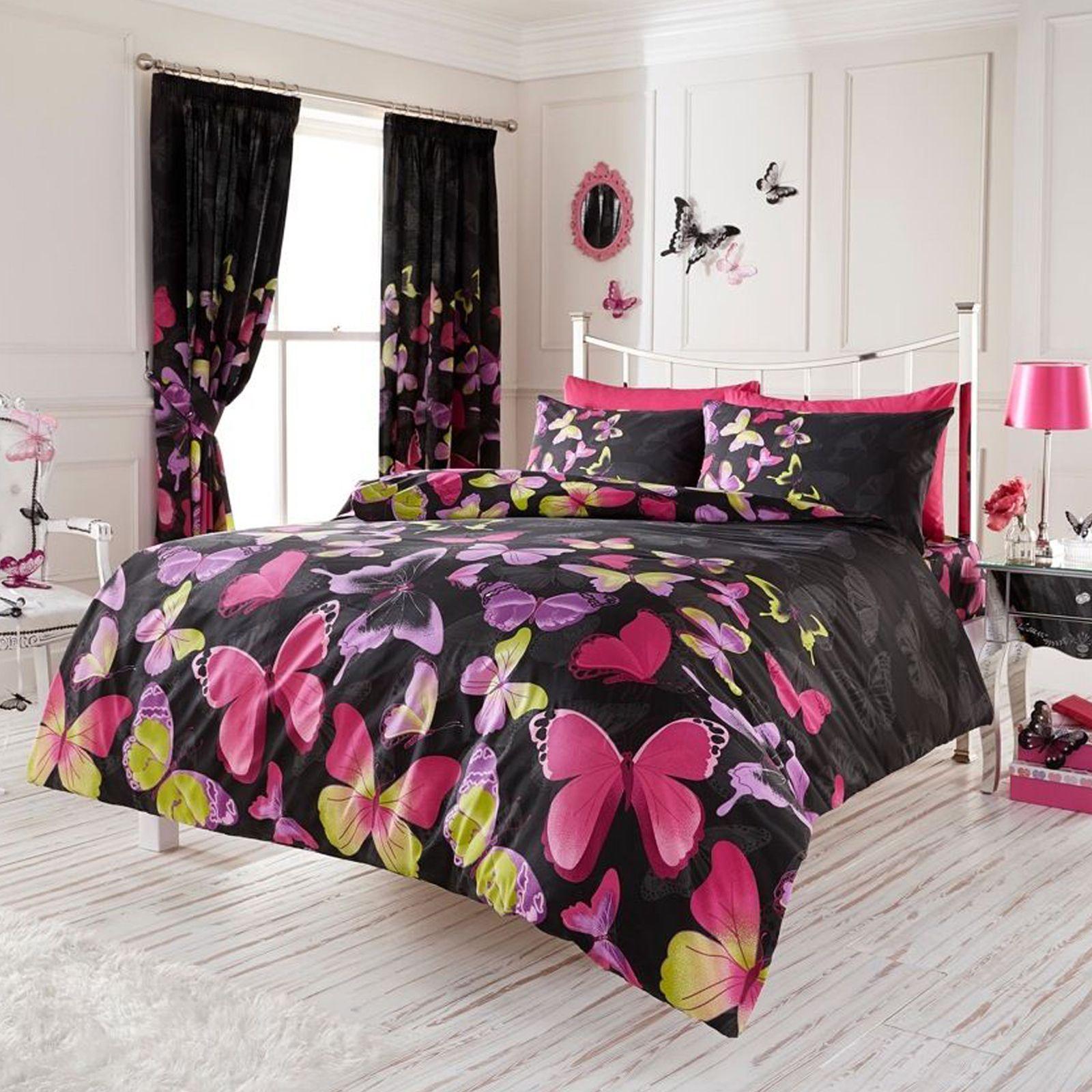 moda farfalla completo copripiumino matrimoniale nero e rosa ... - Copripiumino Bianco E Rosa