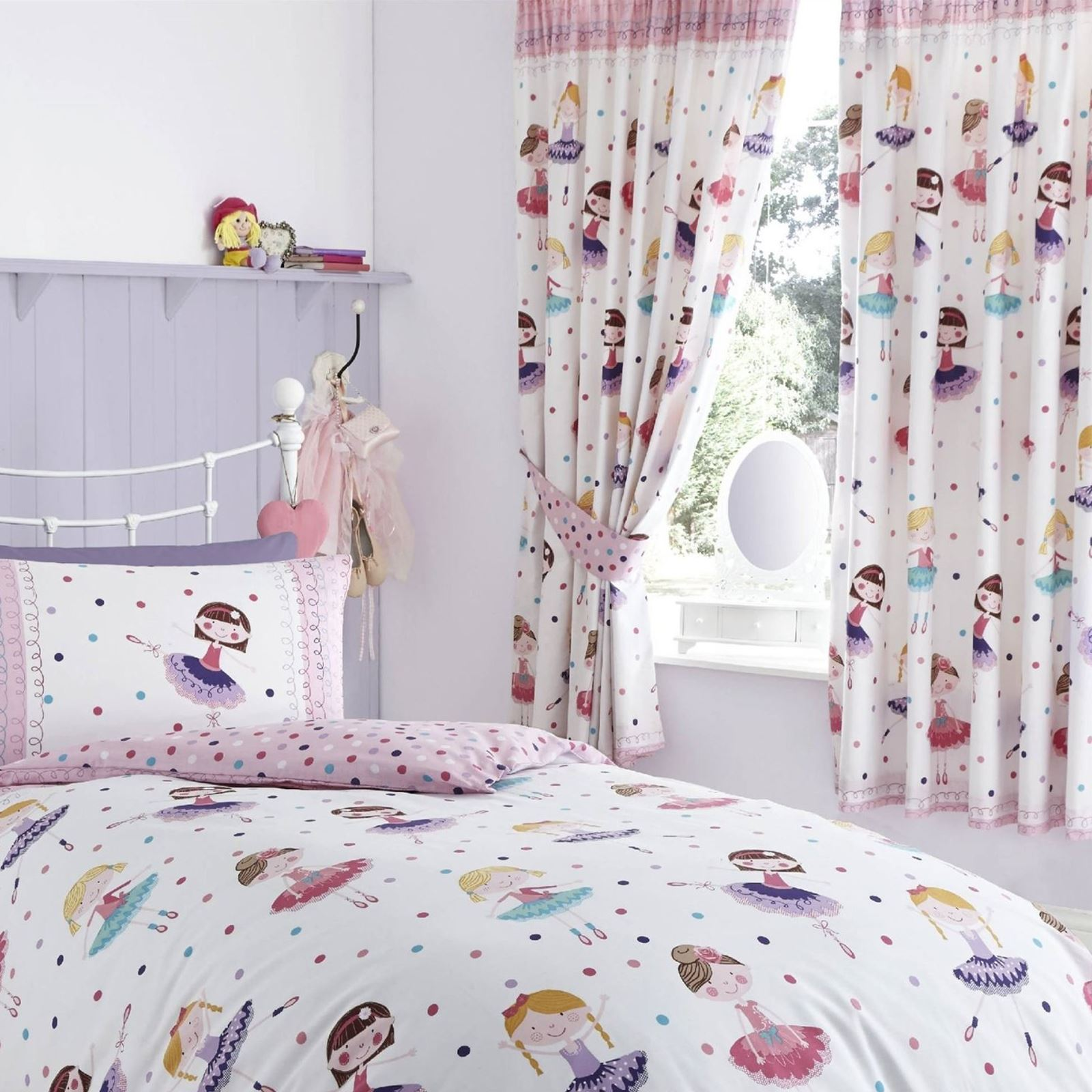 BALLERINA DUVET BEDROOM RANGE SINGLE, DOUBLE U0026 CURTAINS AVAILABLE GIRLS  BEDDING