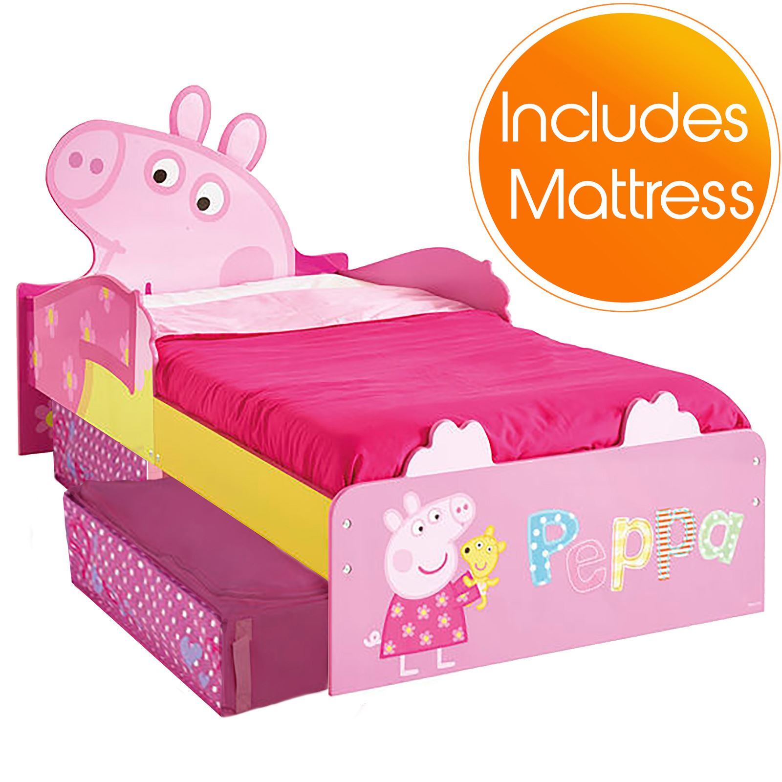 PEPPA PIG MDF TODDLER BED WITH STORAGE MATTRESS NEW