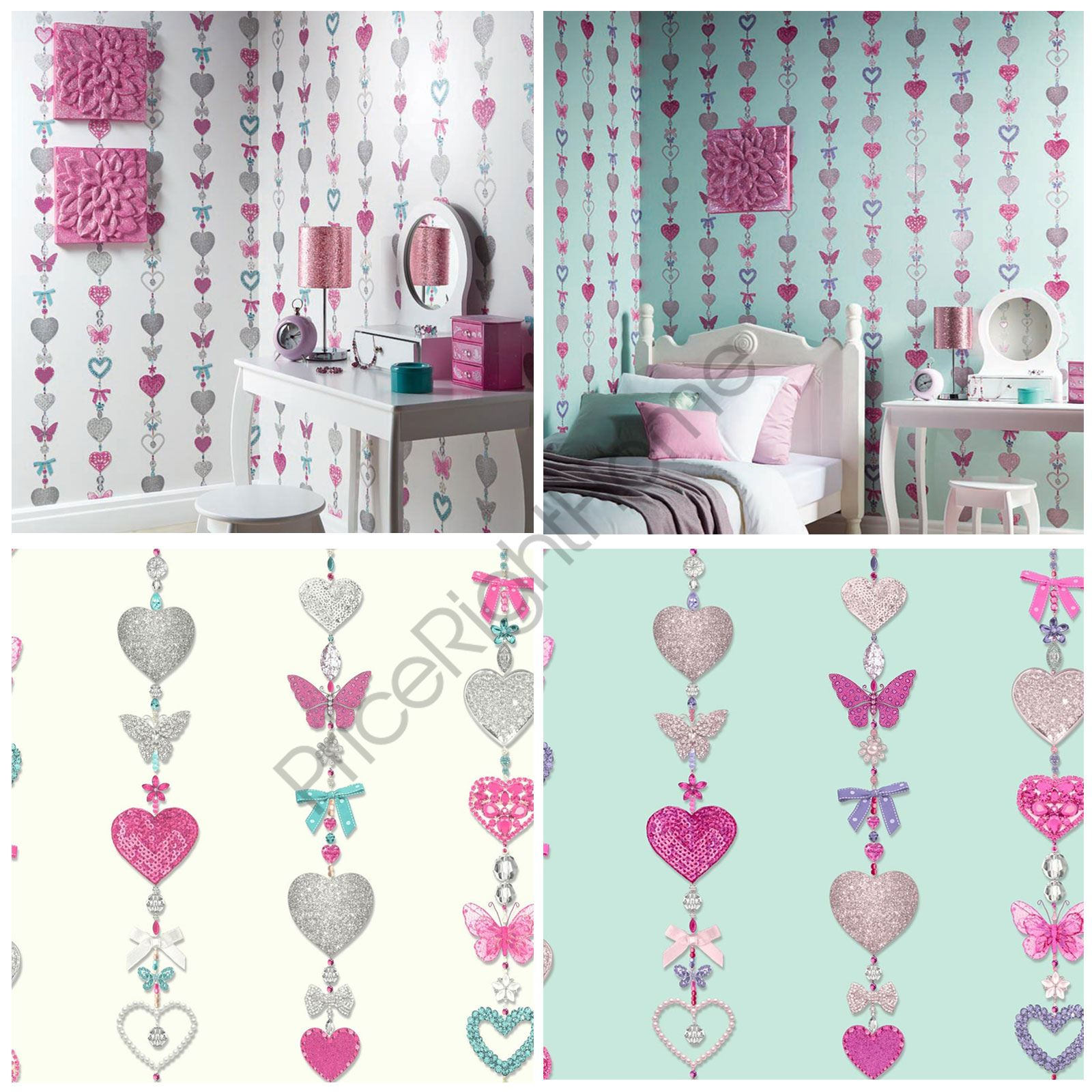 TIFFANY HEARTS STRIPE WALLPAPER AVAILABLE IN DUCK EGG WHITE KIDS BEDROOM NEW