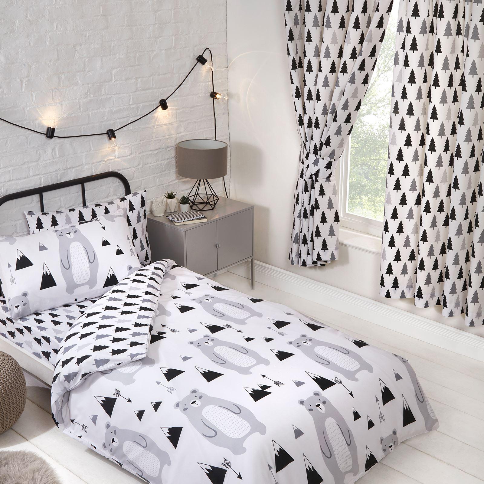 """Scandi Bear Forest Lined Curtains 66/"""" x 54/"""" Scandinavian Design"""