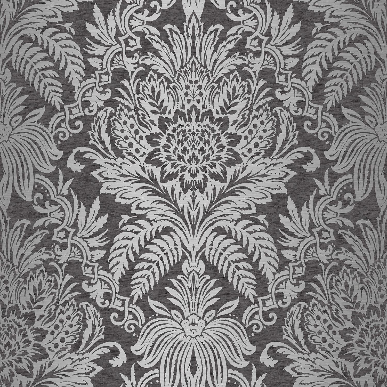 crown signature damask wallpaper teal ebony grey copper. Black Bedroom Furniture Sets. Home Design Ideas