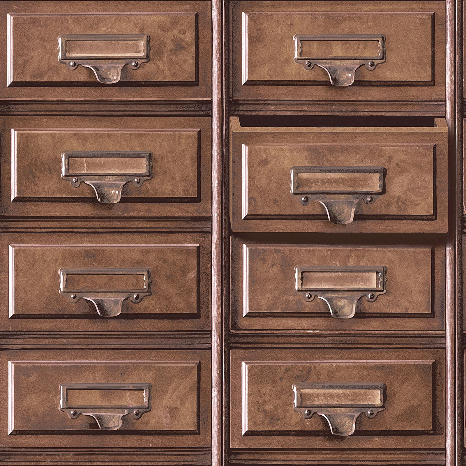 holden vintage drawers and suitcase wallpaper feature wall. Black Bedroom Furniture Sets. Home Design Ideas