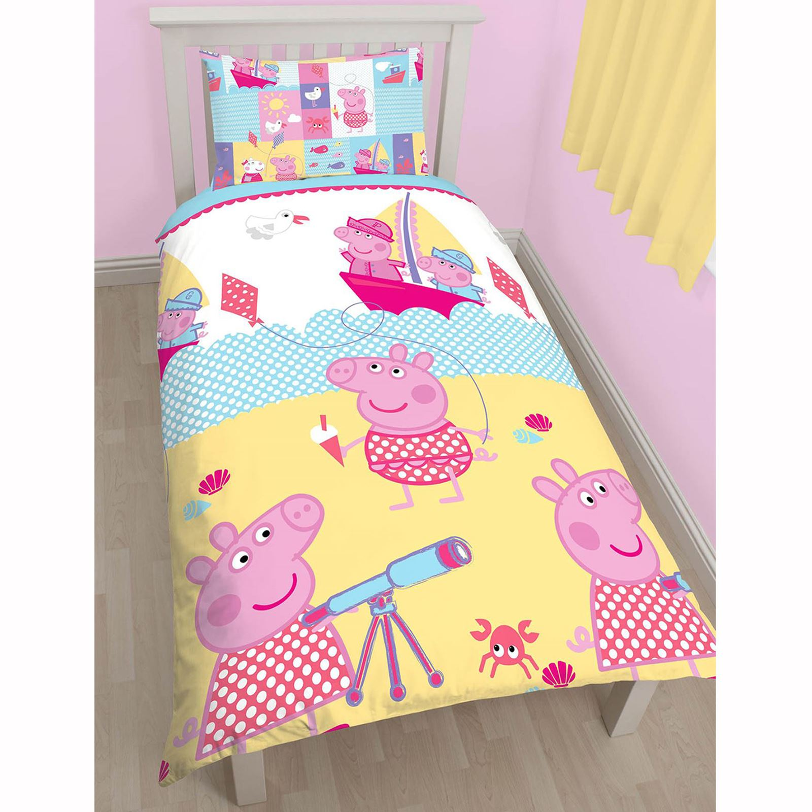 PEPPA PIG NAUTICAL SINGLE & DOUBLE DUVET COVERS YELLOW ...