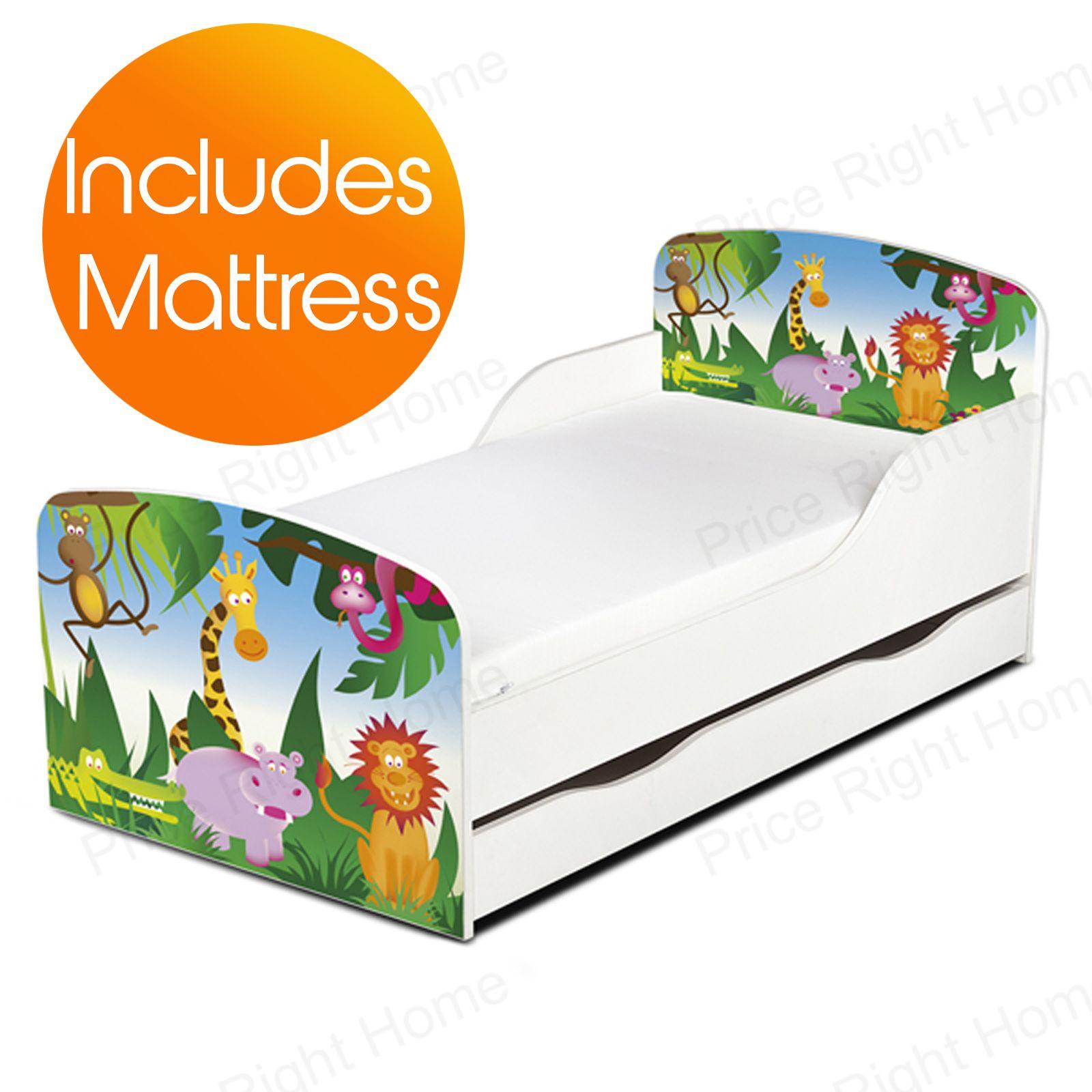 dschungeltiere mdf kleinkind bett matrazte mit unterbett aufbewahrung kinder ebay. Black Bedroom Furniture Sets. Home Design Ideas