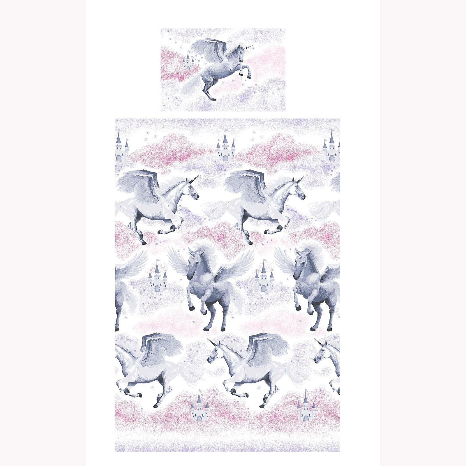 Stardust-Unicornio-Azul-Rosa-Cortinas-amp-Juego-Funda-Edredon-Menor-Simple-Doble miniatura 17