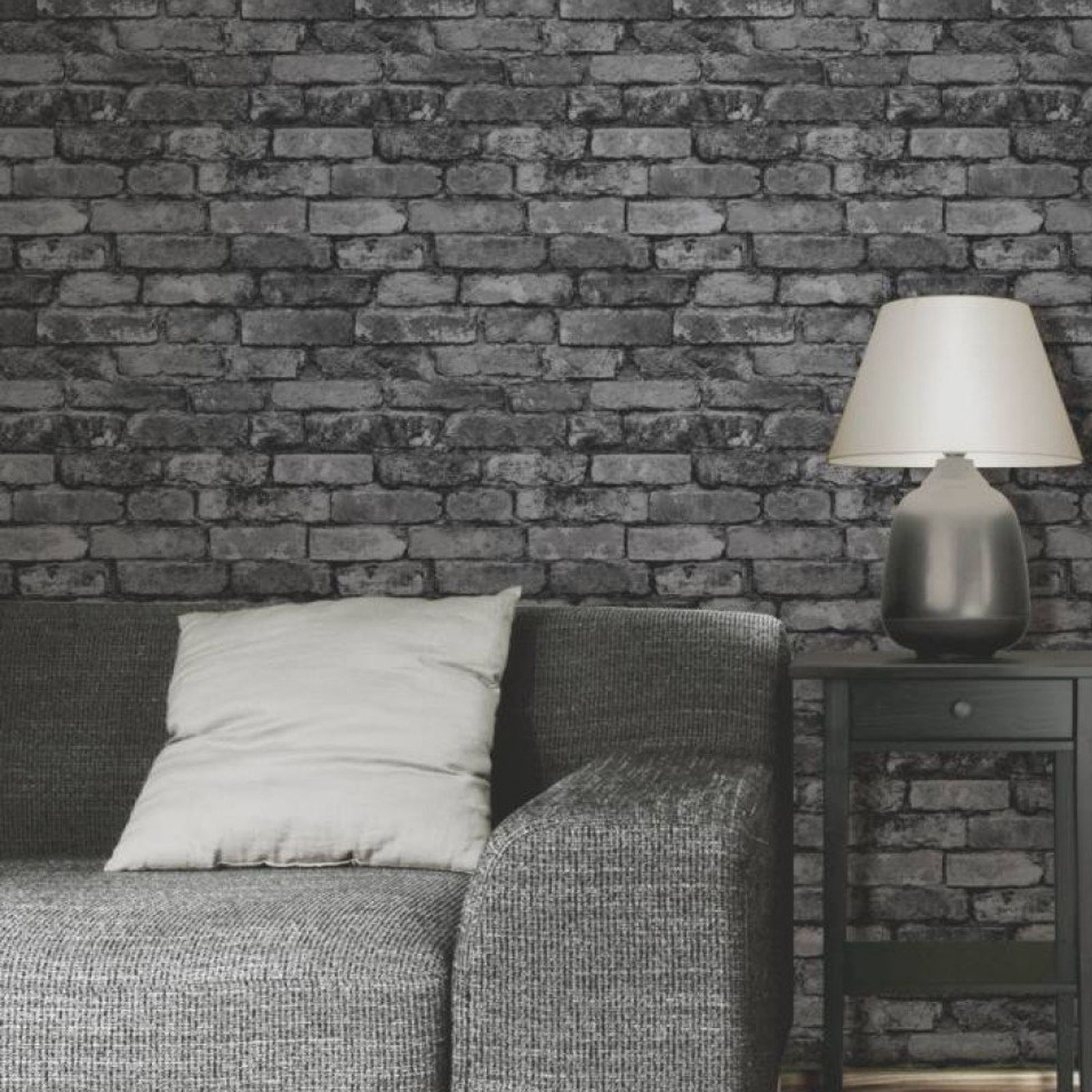 Fine decor rustic brick effect wallpapers feature wall for Gray wallpaper bedroom