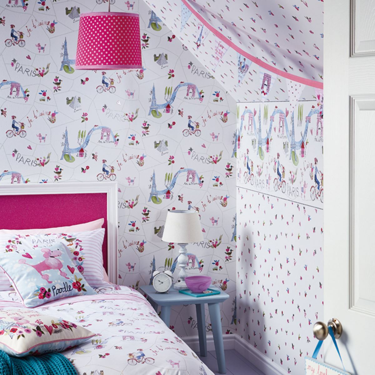 GIRLS WALLPAPER THEMED BEDROOM UNICORN STARS HEART GLITTER CHIC FEATURE  WALL NEW. GIRLS WALLPAPER THEMED BEDROOM UNICORN STARS HEART GLITTER CHIC