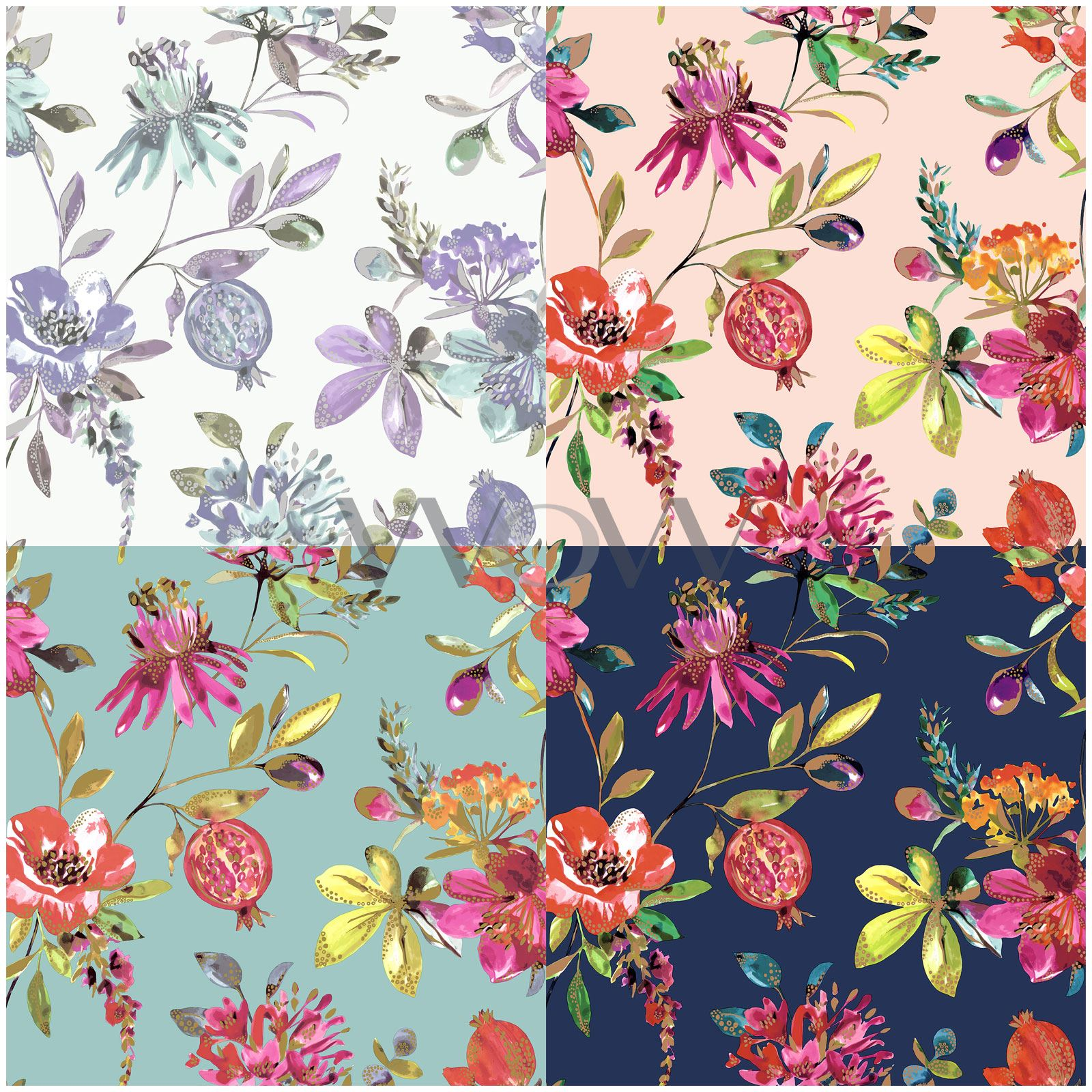 Holden Melgrano Floral Wallpaper Teal Pink Heather Navy