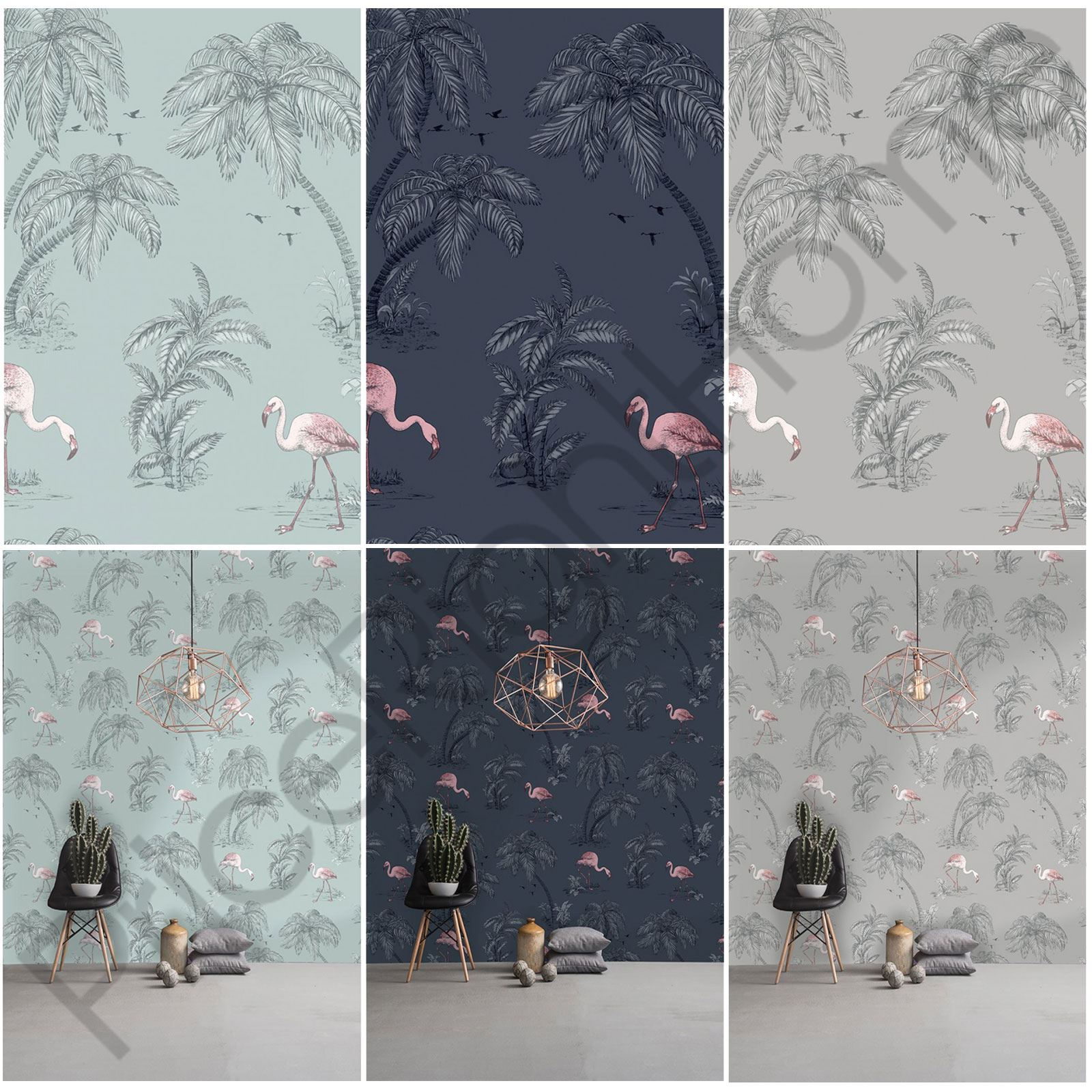 Holden Flamingo Lake Wallpaper Feature Wall Decor Duck Egg Blue