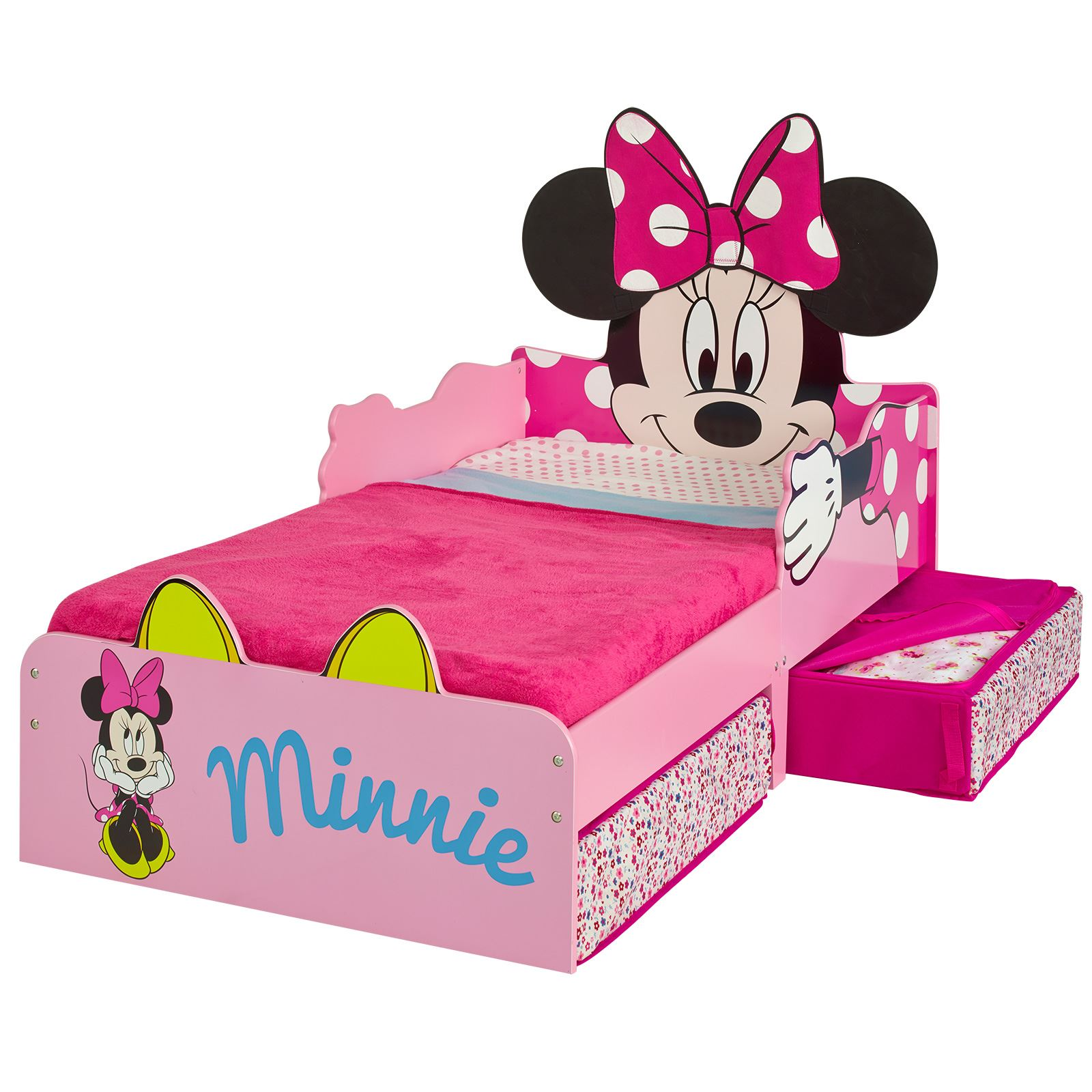 minnie mouse mdf kleinkind bett mit lager federkernmatratze ebay. Black Bedroom Furniture Sets. Home Design Ideas