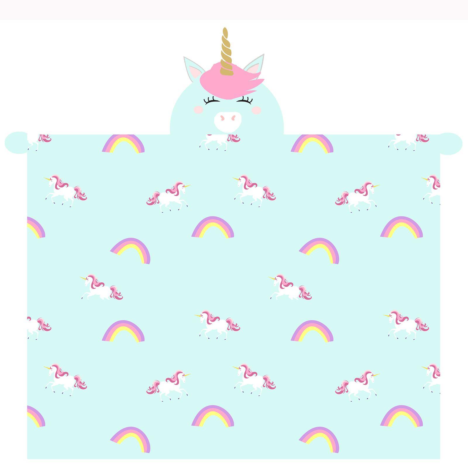 Licorne à Capuche Couverture Polaire Doux avec Manches /& Main Moufles Enfants