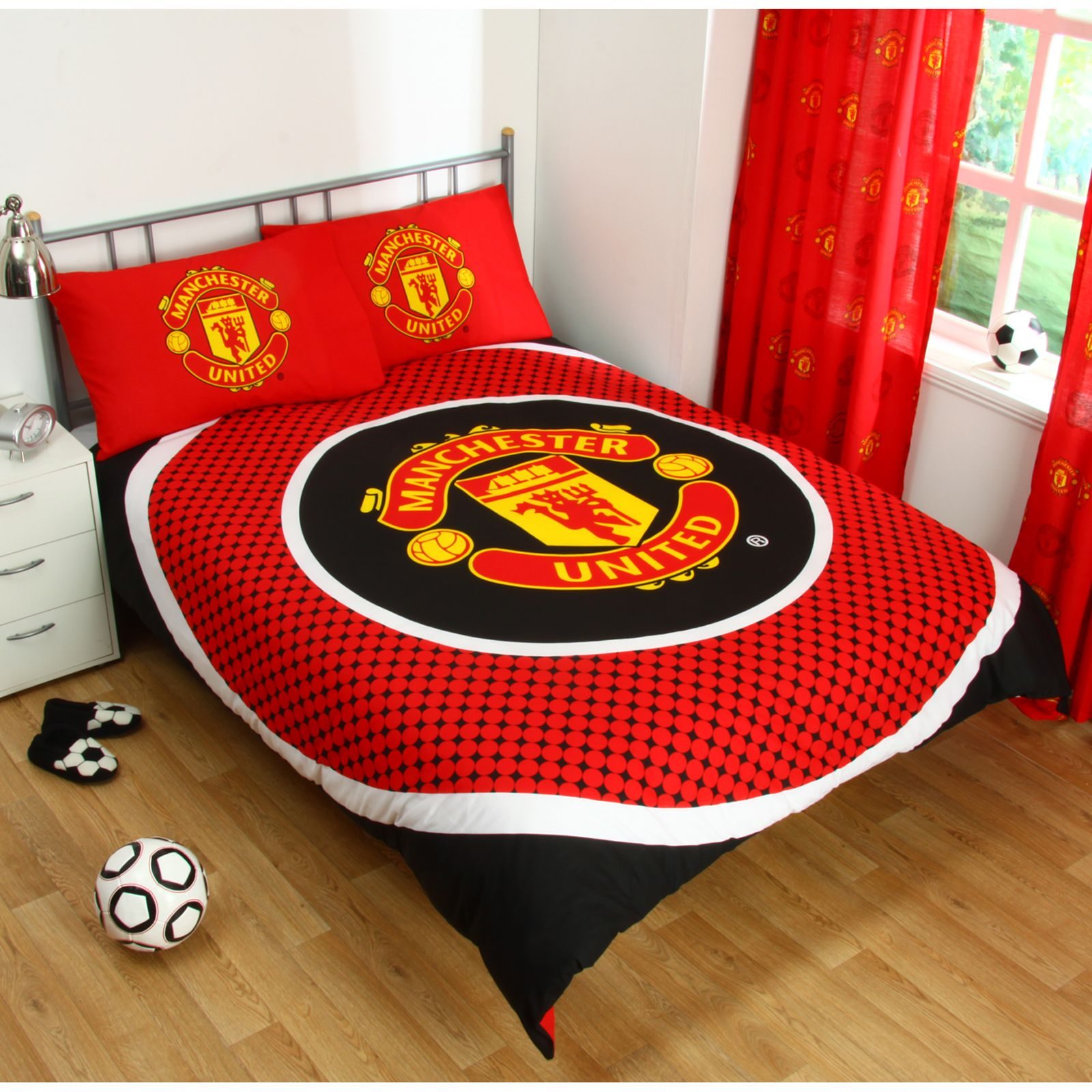 Red Manchester United Official Patch Double Duvet Cover Set Football Fc New