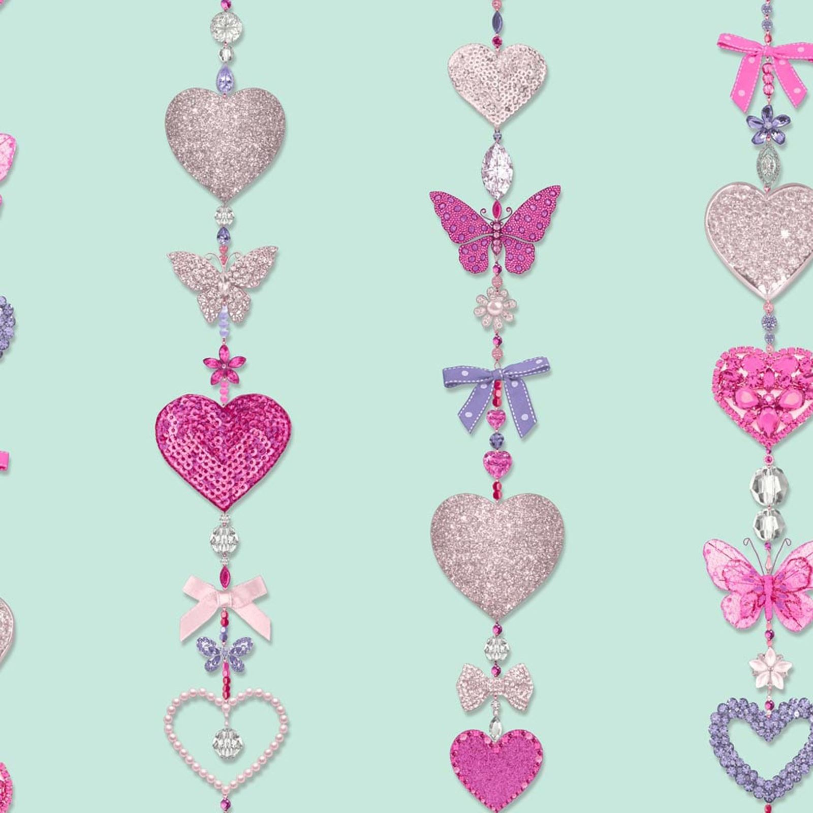 heart themed wallpaper girls bedroom pink various designs available