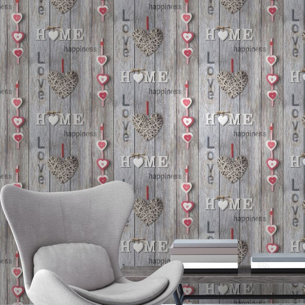 Fine Decor Love Your Home Wallpaper Blue Lilac Red Wall Decor Room