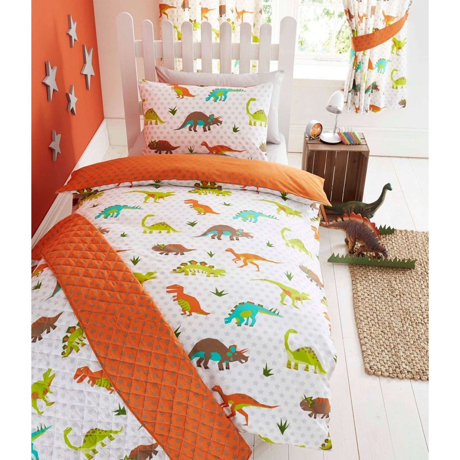 DINOSAUR DESIGN SINGLE DUVET COVER SETS BOYS BEDDING BEDROOM