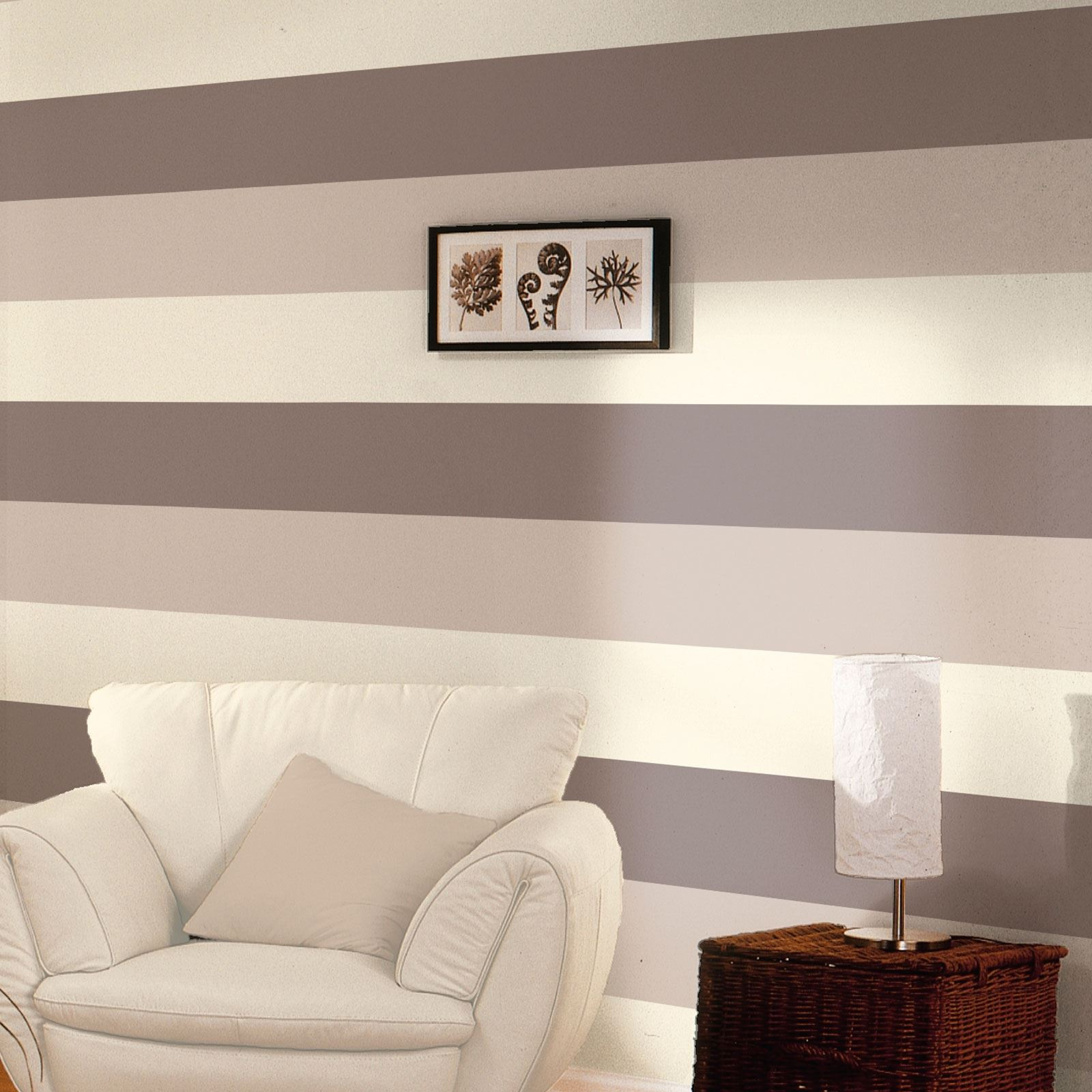 STRIPE WALLPAPER NEW FEATURE WALL LIME, CHOCOLATE, GREY ...