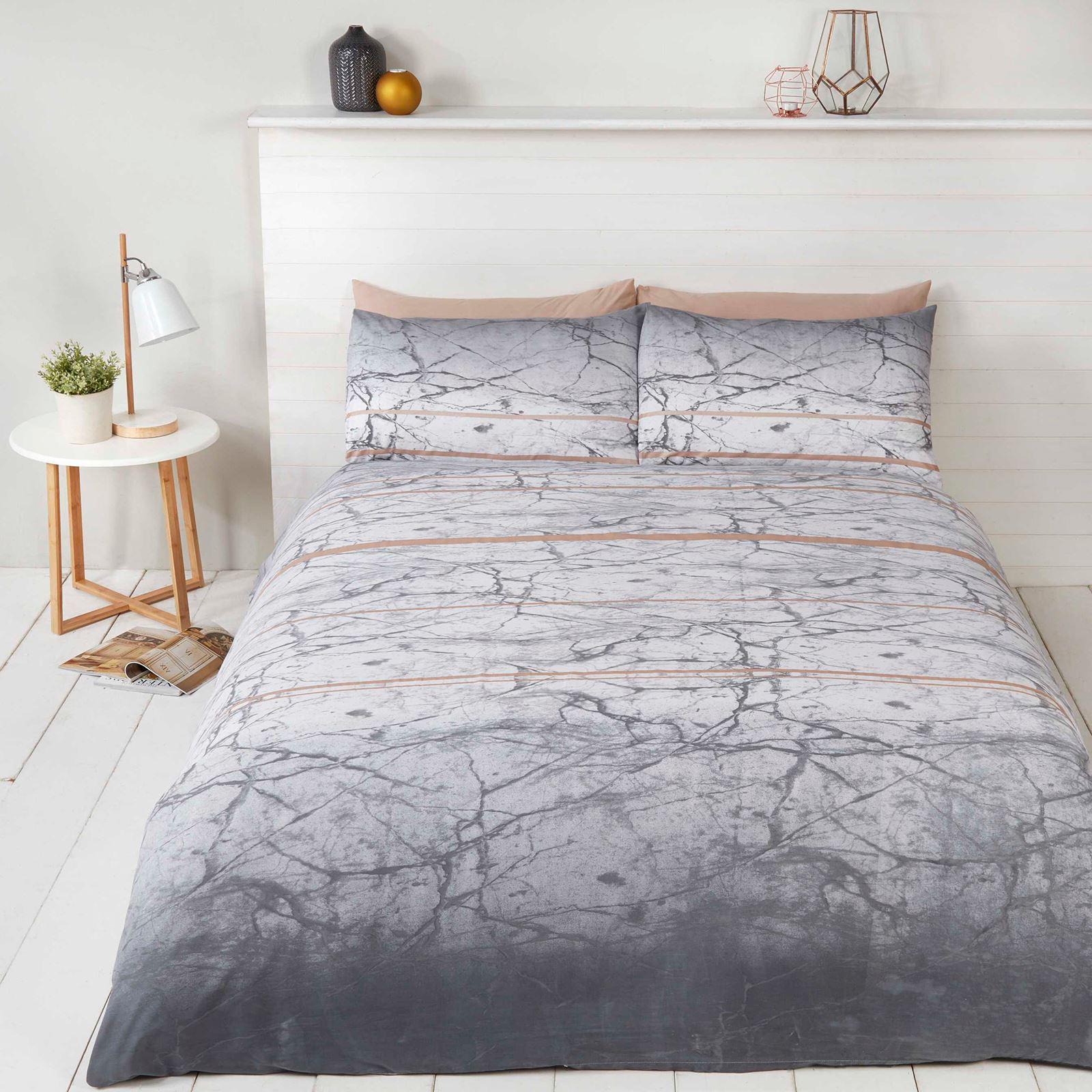 marble duvet cover set bedding grey white rose gold single double king size ebay. Black Bedroom Furniture Sets. Home Design Ideas