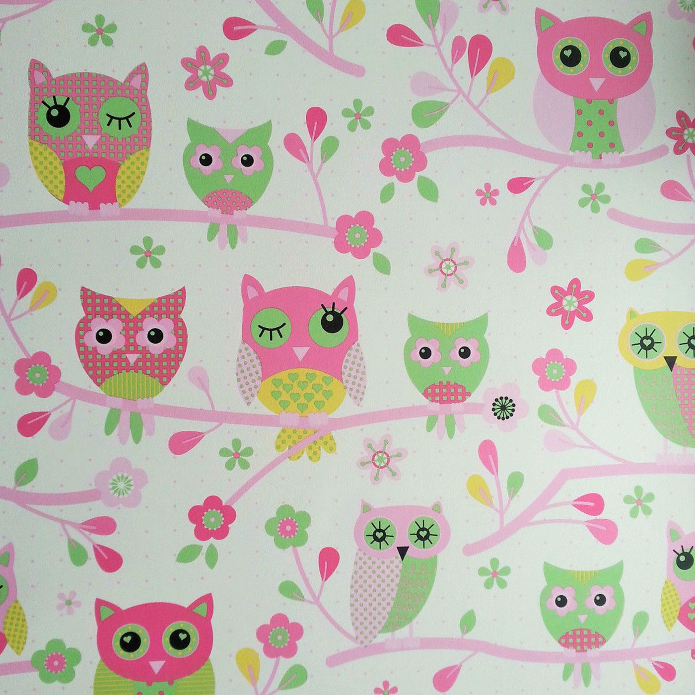 Details about OWLS WALLPAPER - PINK - 6327 DEBONA NEW GIRLS