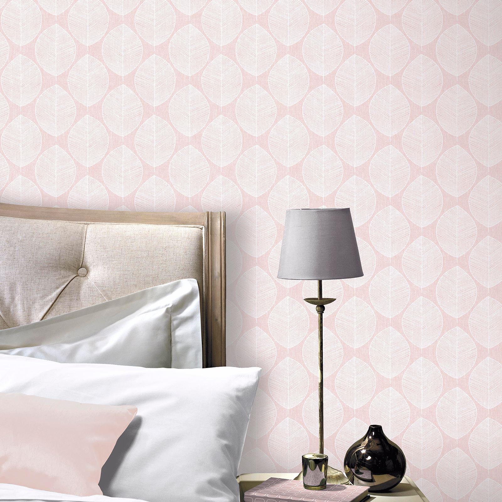 Details zu Arthouse Scandi Blatt Tapete - Grau Rosa Blaugrün Schlafzimmer  Flur Lounge