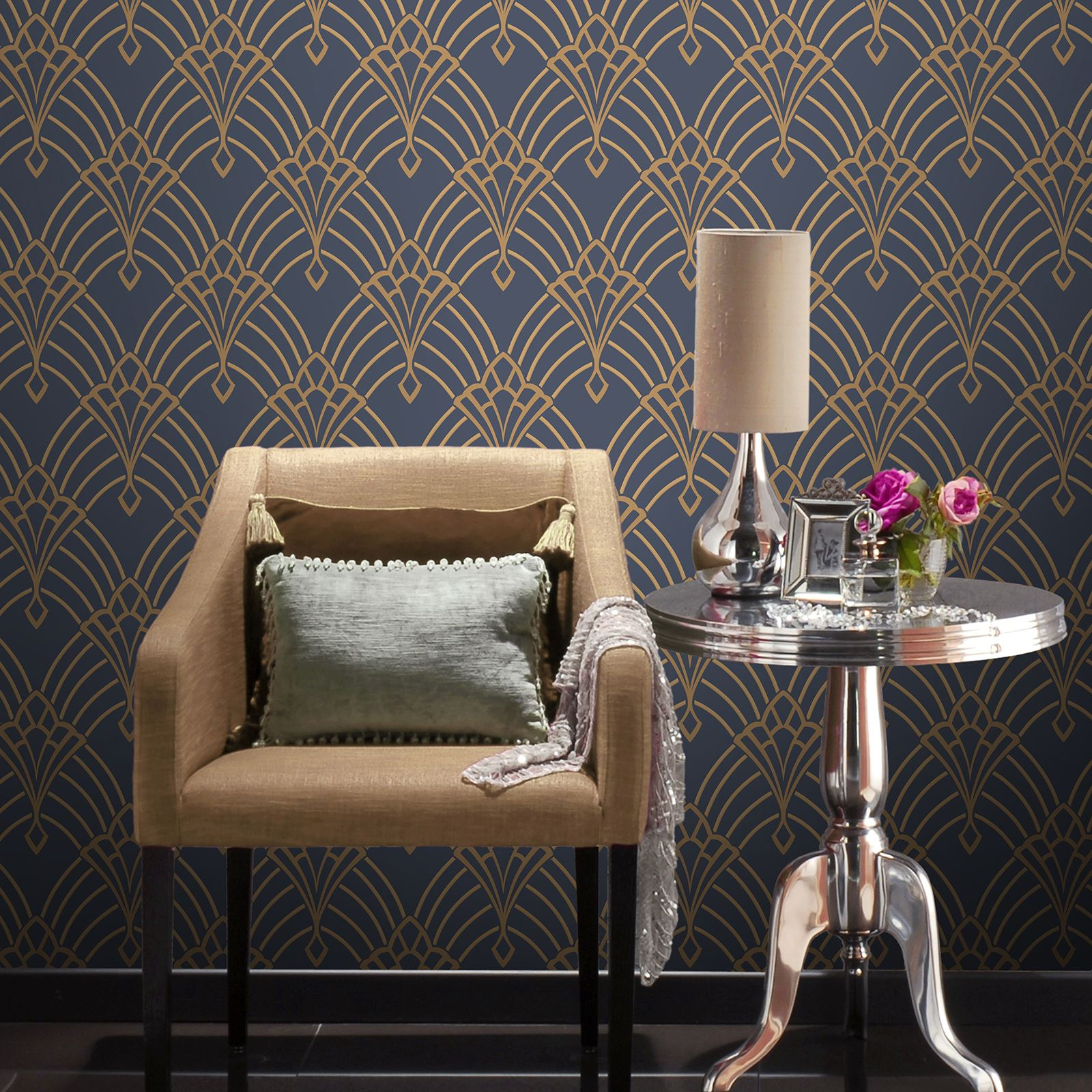 astoria art deco wallpaper dark blue gold rasch 305340. Black Bedroom Furniture Sets. Home Design Ideas