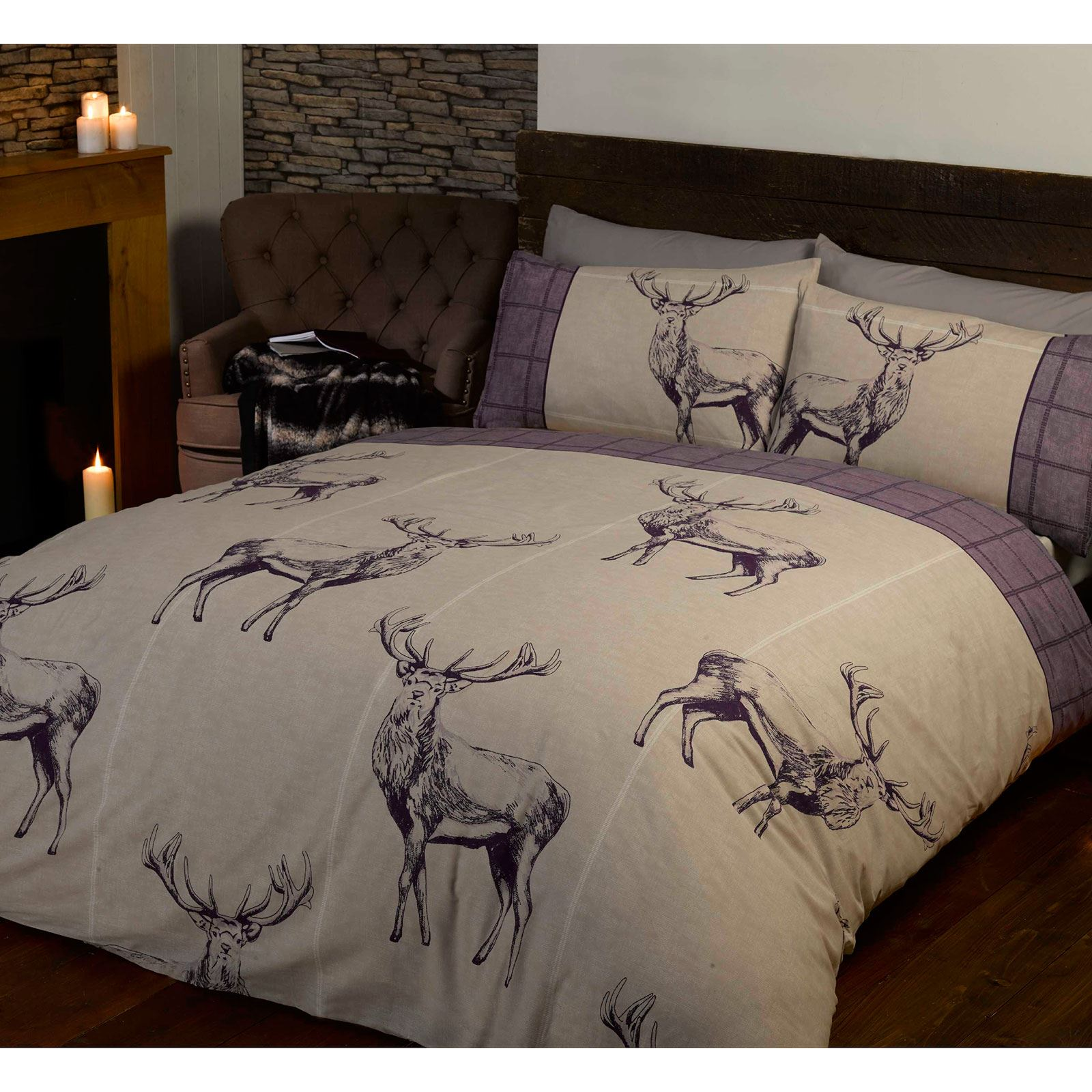 Highland Stag Double Duvet Cover Sets Red Grey Charcoal