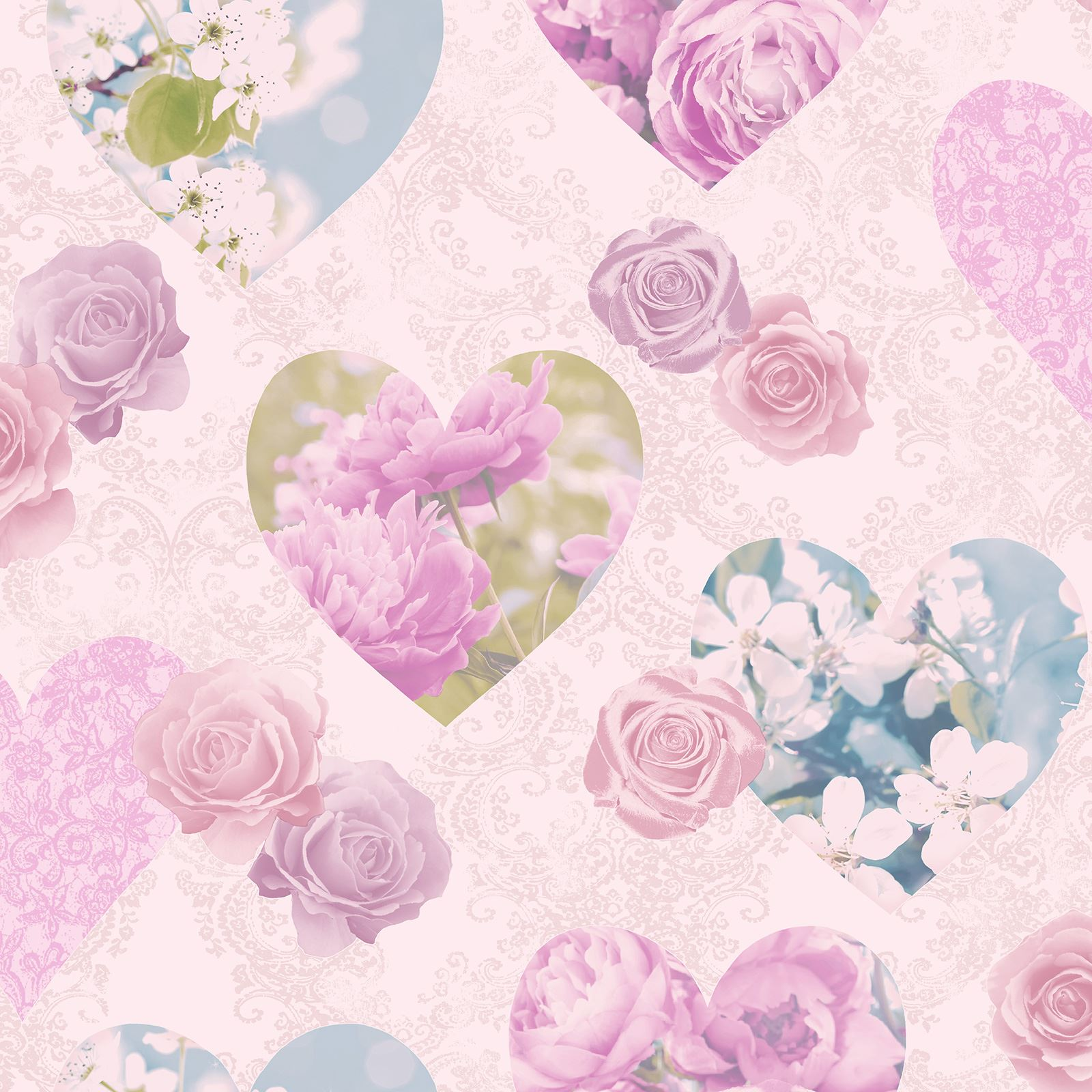 HEART THEMED WALLPAPER GIRLS BEDROOM PINK VARIOUS DESIGNS