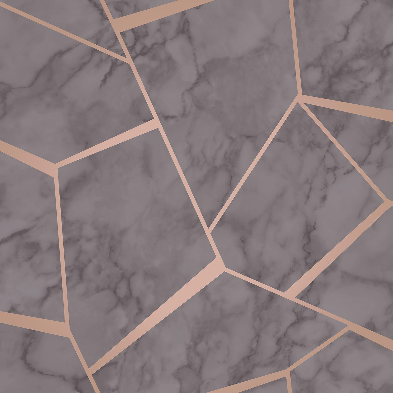 FINE DECOR METALLIC GEOMETRIC PLAIN MARBLE WALLPAPER ROSE