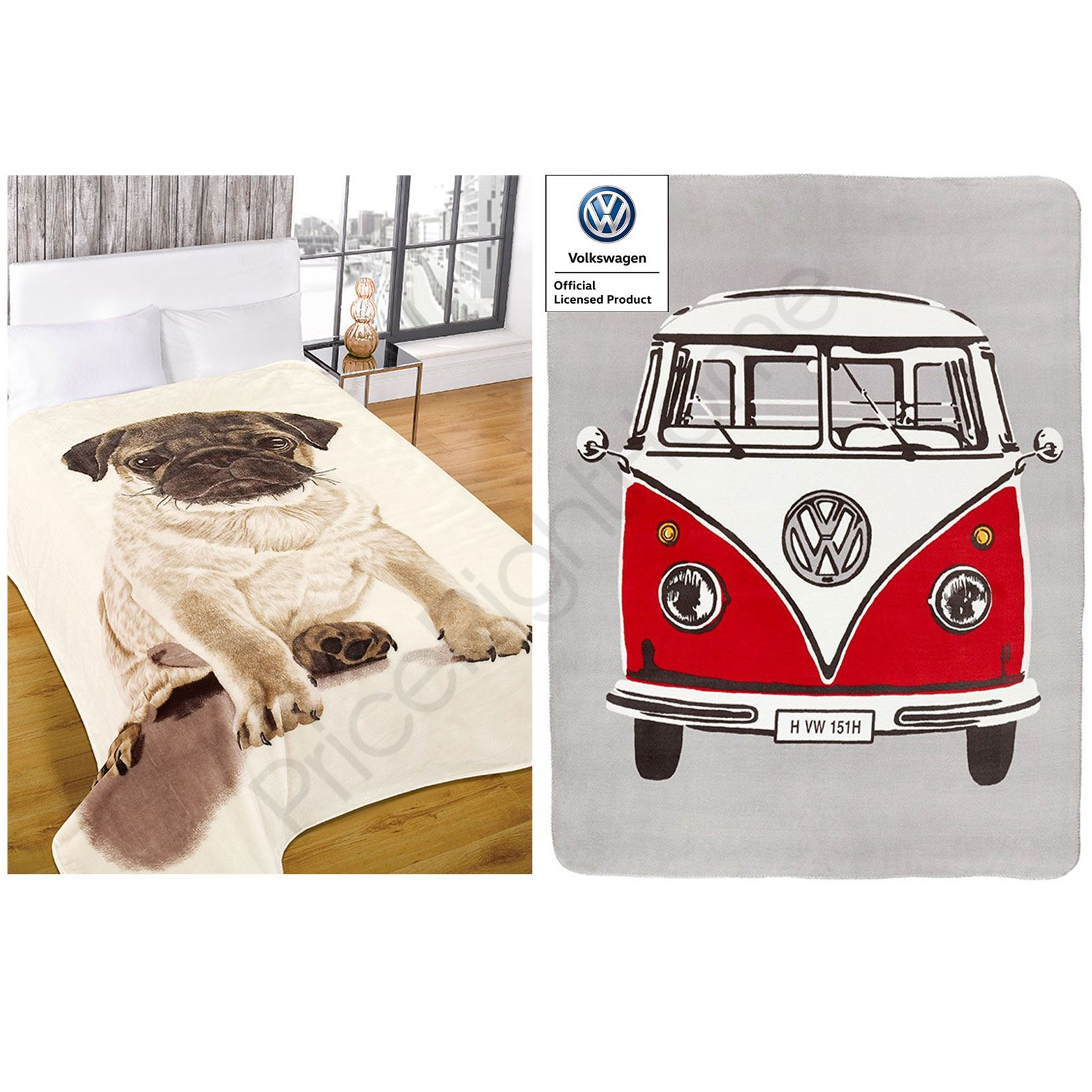 Adult Throw Blankets Faux Fur Pug And Volkswagen Retro Campervan