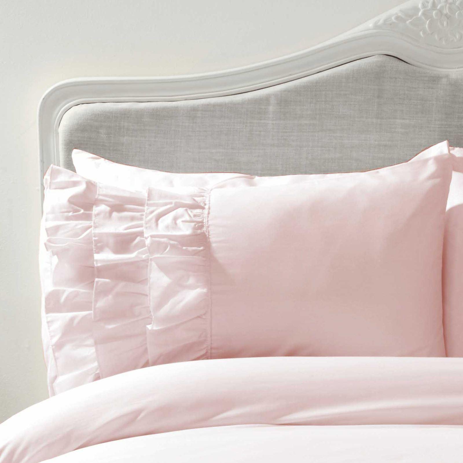 Flamenco Ruffle Blush Pink Super King Size Duvet Cover Pillowcase Set 5027491254755 Ebay