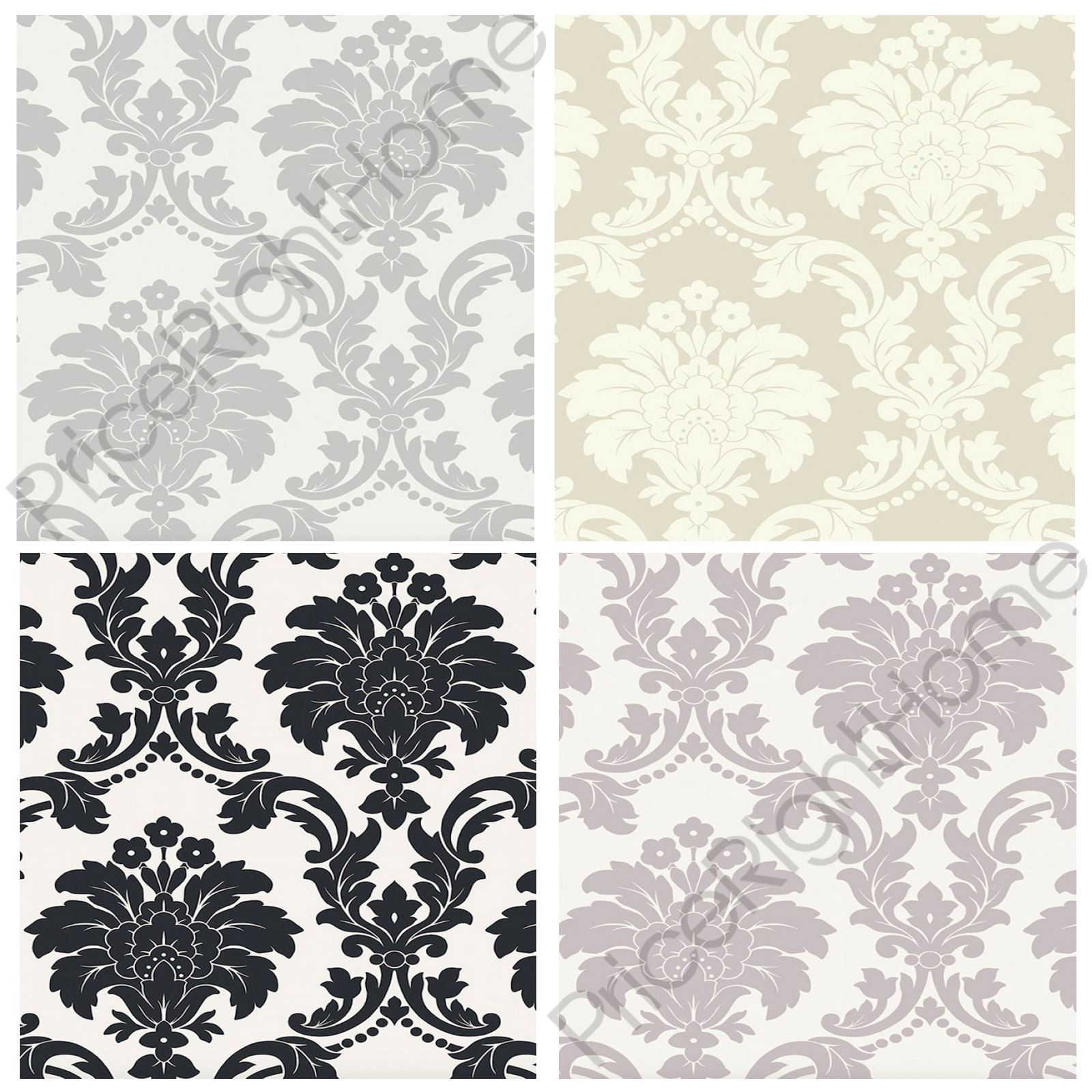 Arthouse romeo damask wallpaper black blush grey for Black white damask wallpaper mural