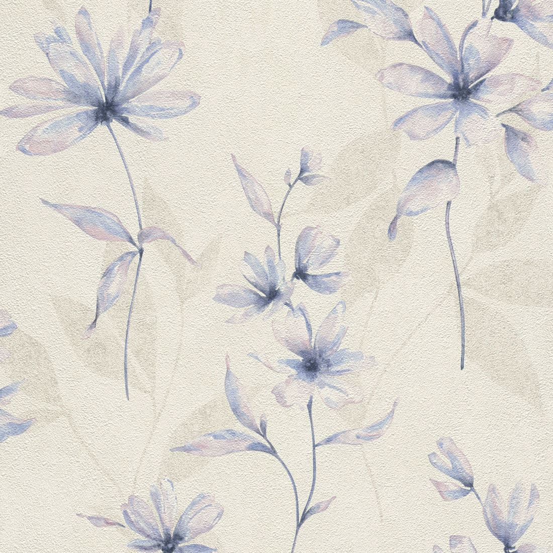 Lucera Floral Wallpaper Blue Cream Rasch 608434 Paste The Wall